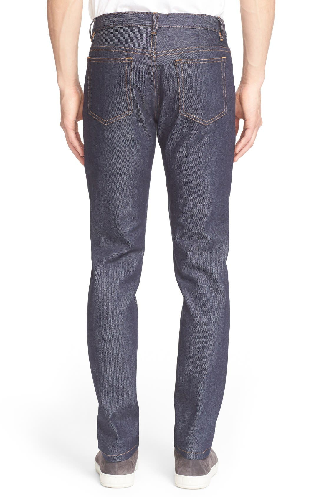A.P.C., Petite New Standard Skinny Fit Jeans, Alternate thumbnail 6, color, INDIGO