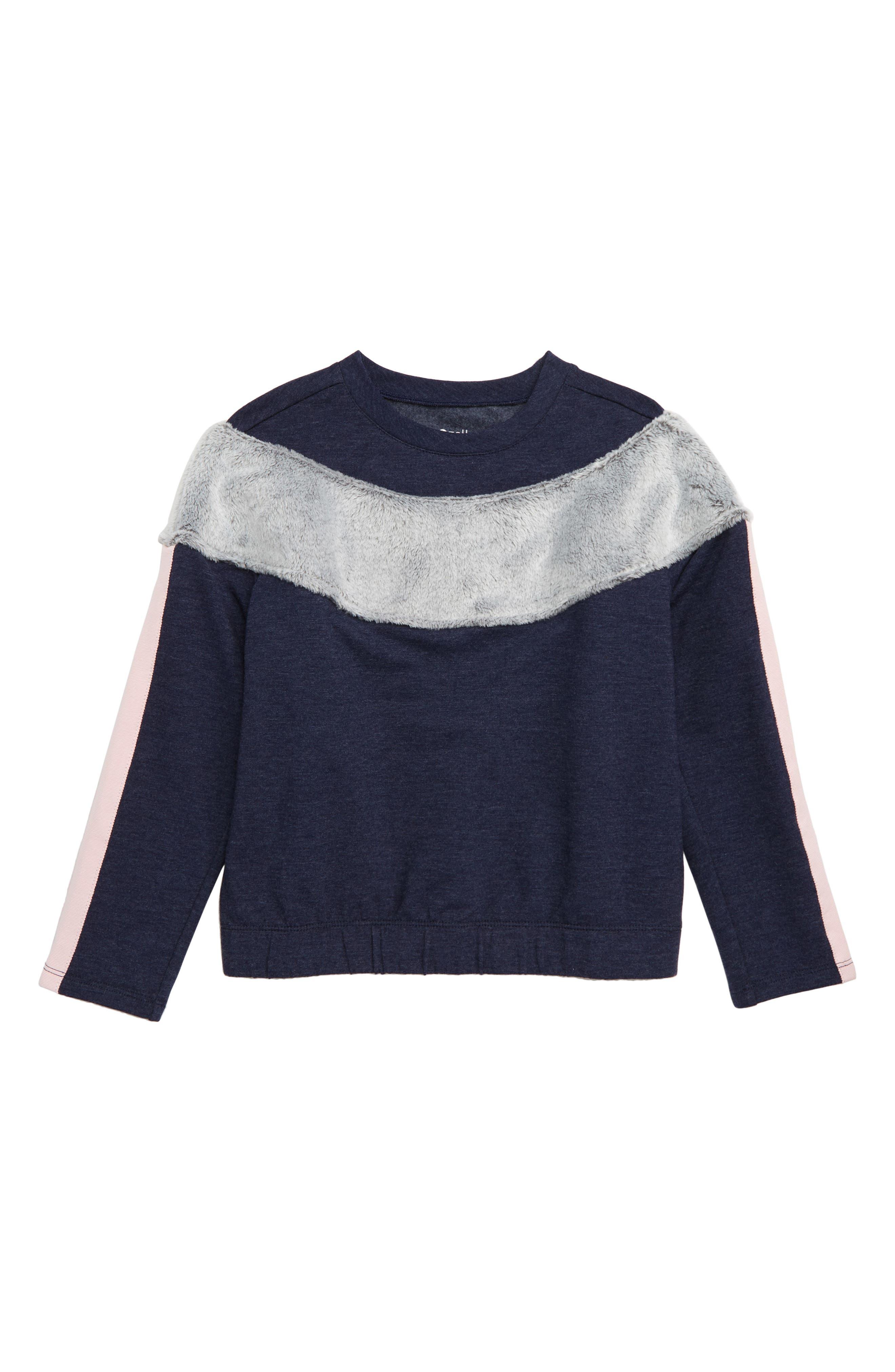 ZELLA GIRL, Sporty Stripe Fleece Sweatshirt, Main thumbnail 1, color, 410
