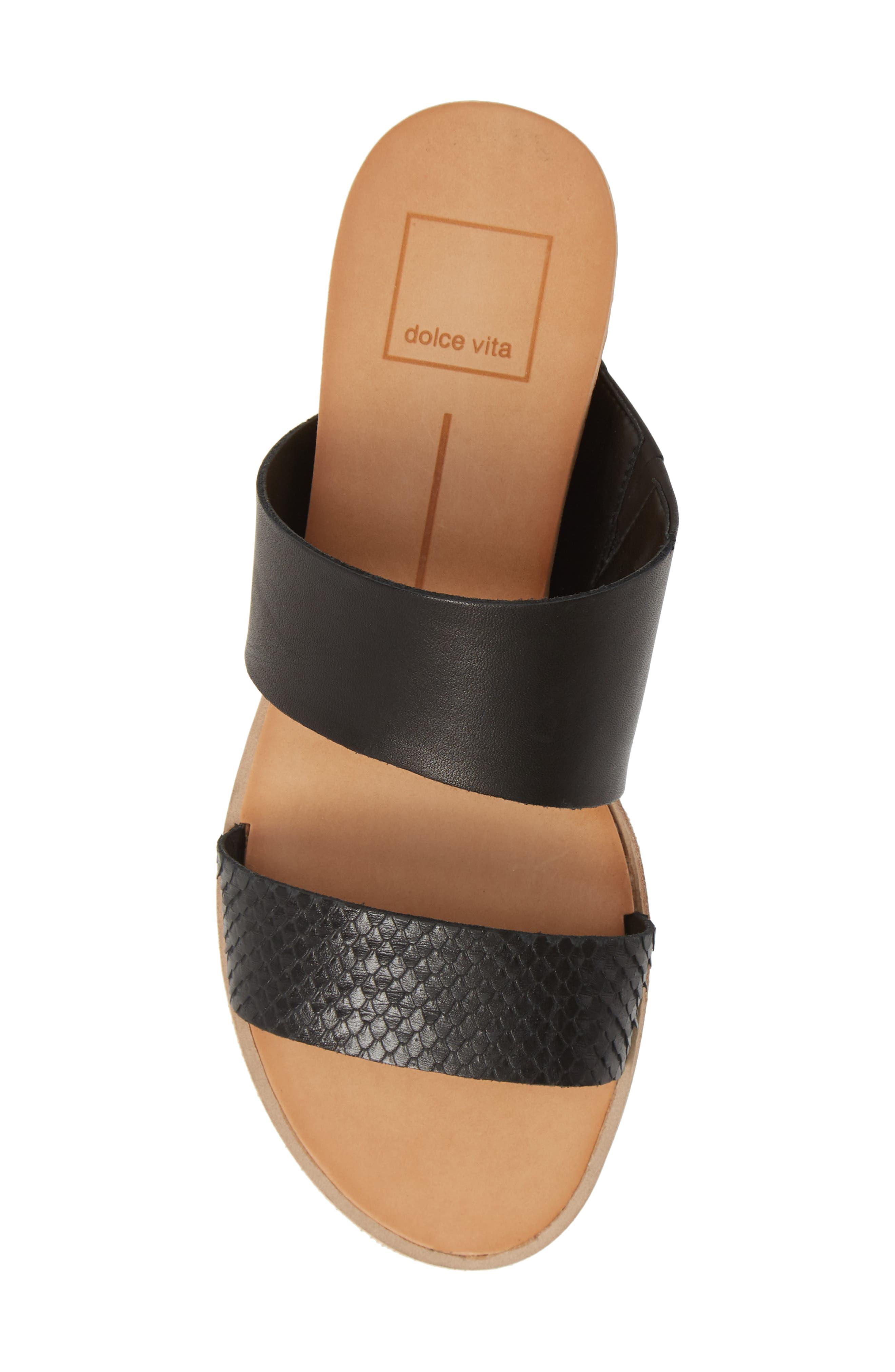 DOLCE VITA, Vala Wedge Slide Sandal, Alternate thumbnail 5, color, BLACK LEATHER