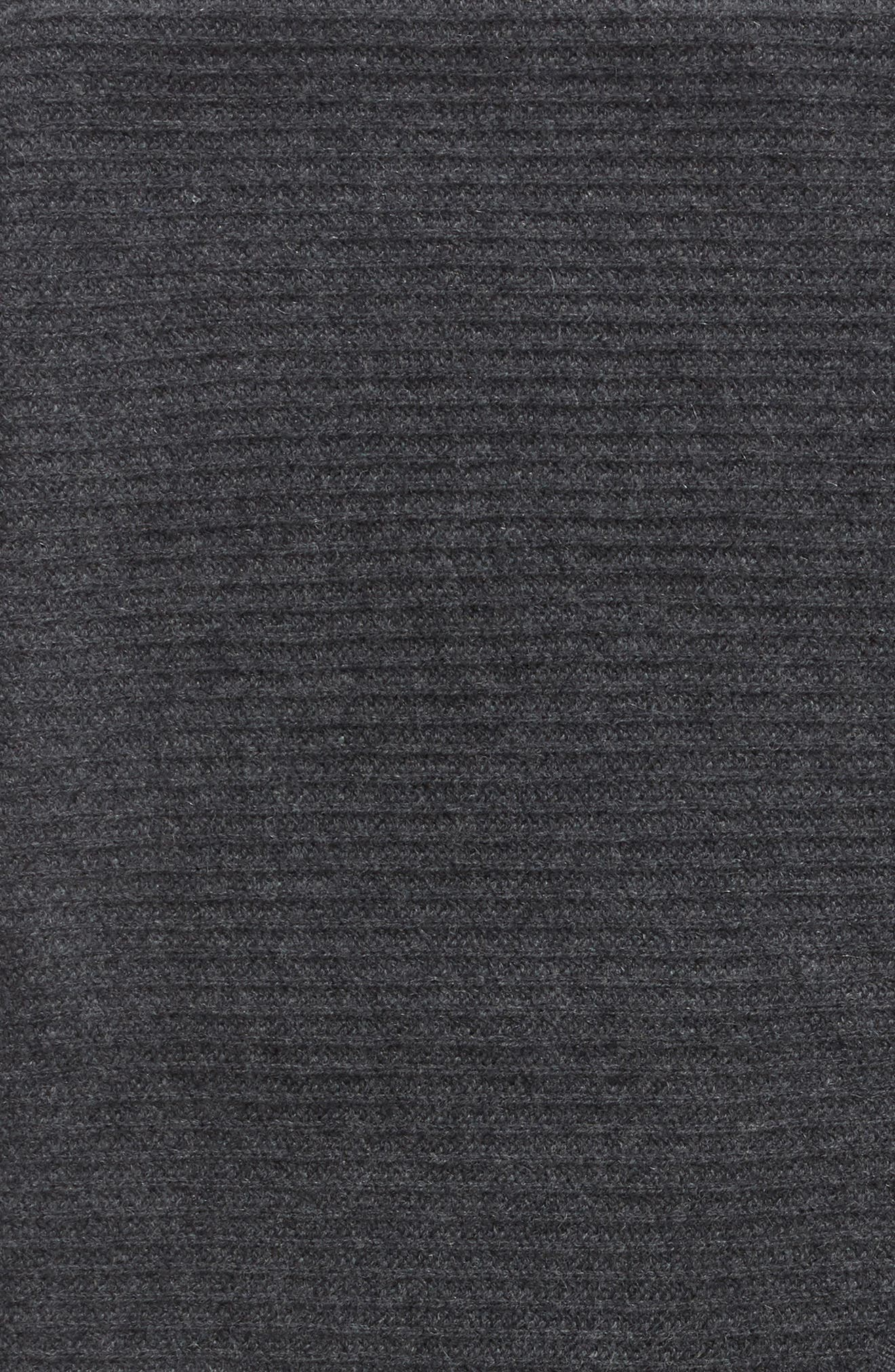NORDSTROM SIGNATURE, Ribbed Cashmere Throw, Alternate thumbnail 2, color, CHARCOAL HEATHER
