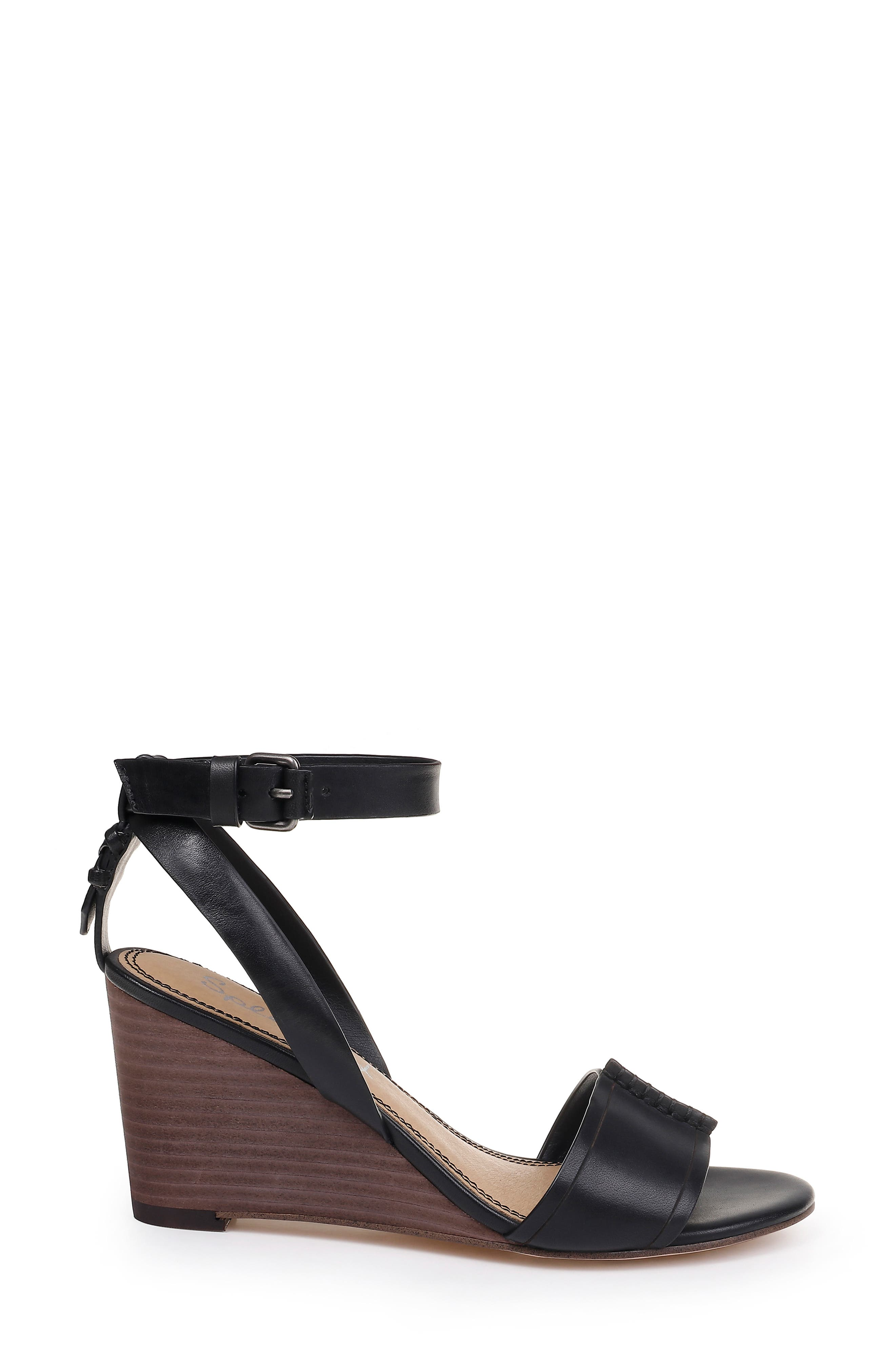 SPLENDID, Tadeo Wedge Ankle Strap Sandal, Alternate thumbnail 3, color, BLACK LEATHER