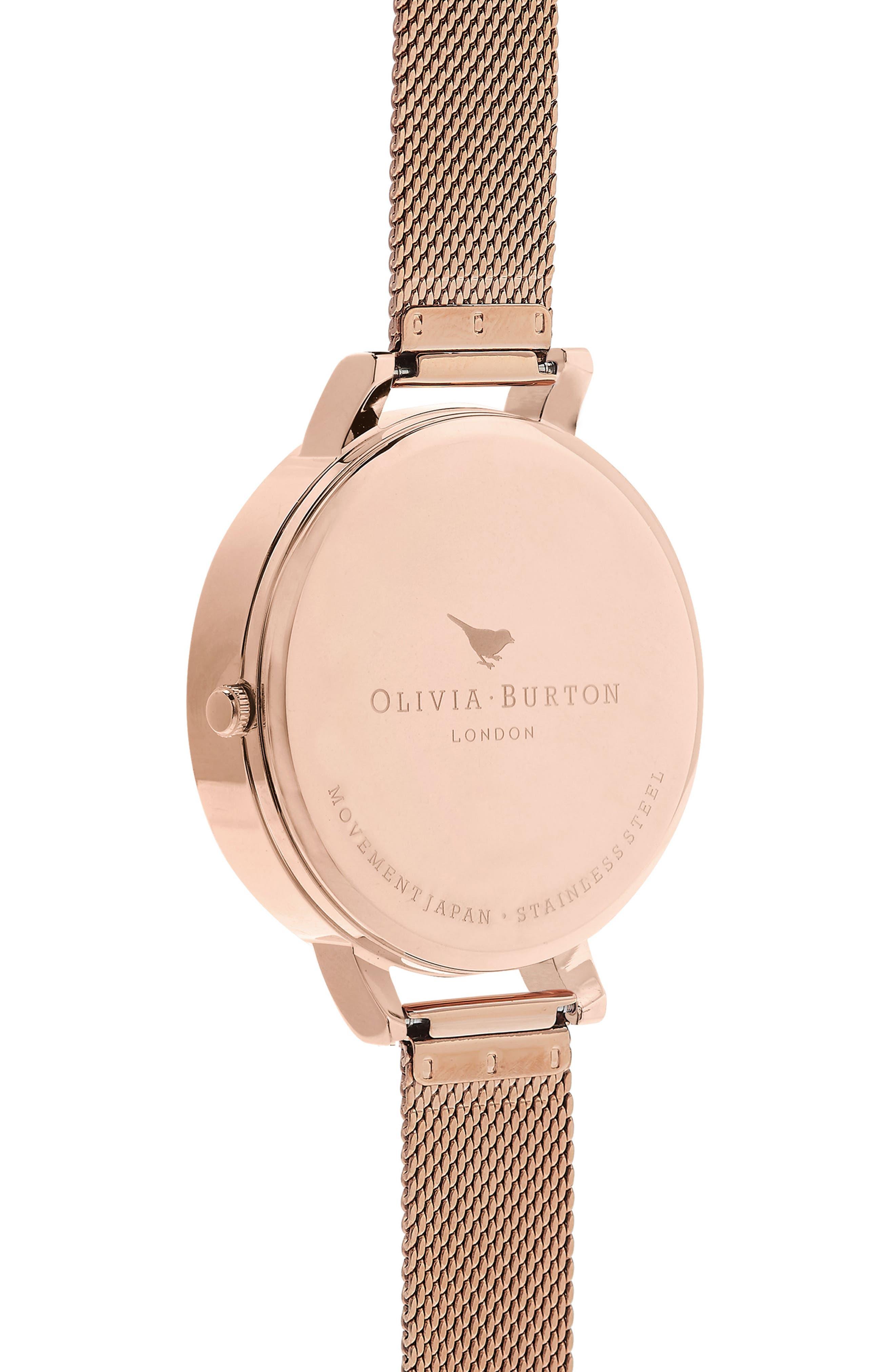 OLIVIA BURTON, Mesh Strap Watch, 38mm, Alternate thumbnail 3, color, ROSE GOLD
