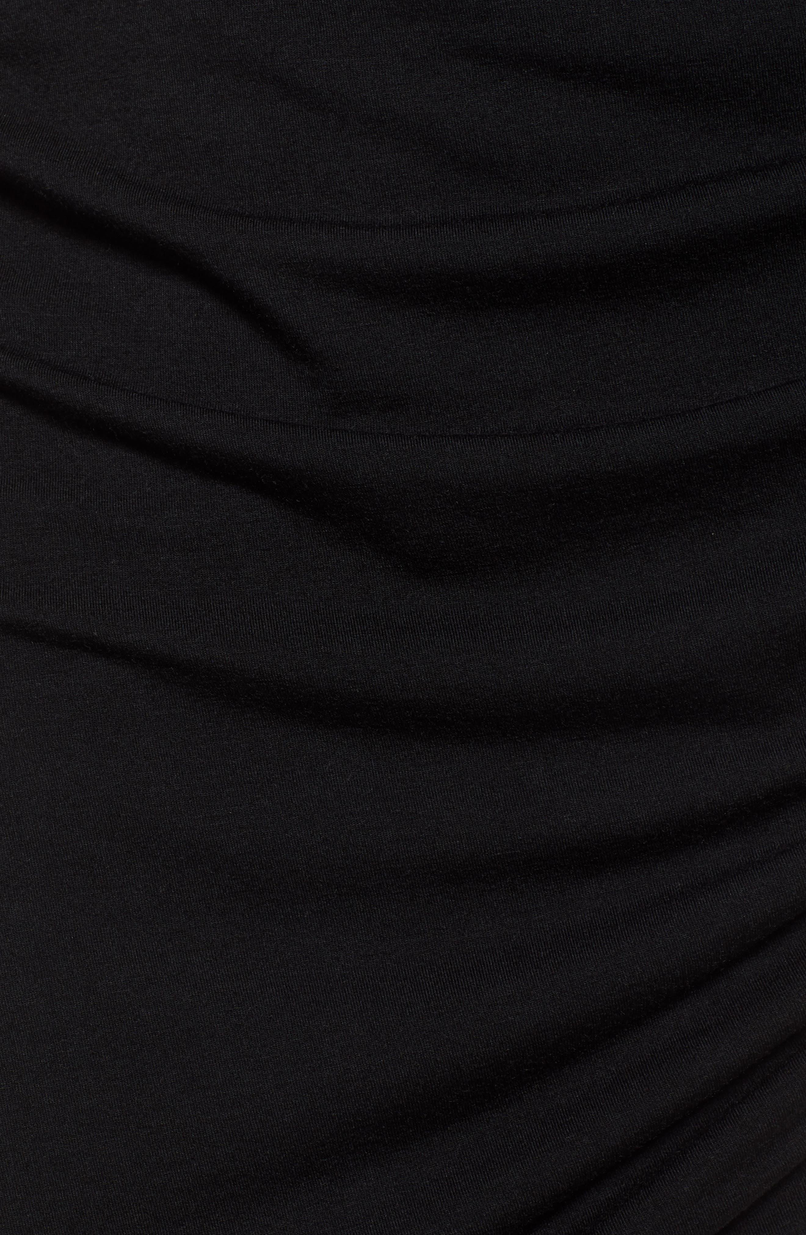 TREASURE & BOND, Shirred Side Midi Skirt, Alternate thumbnail 5, color, BLACK