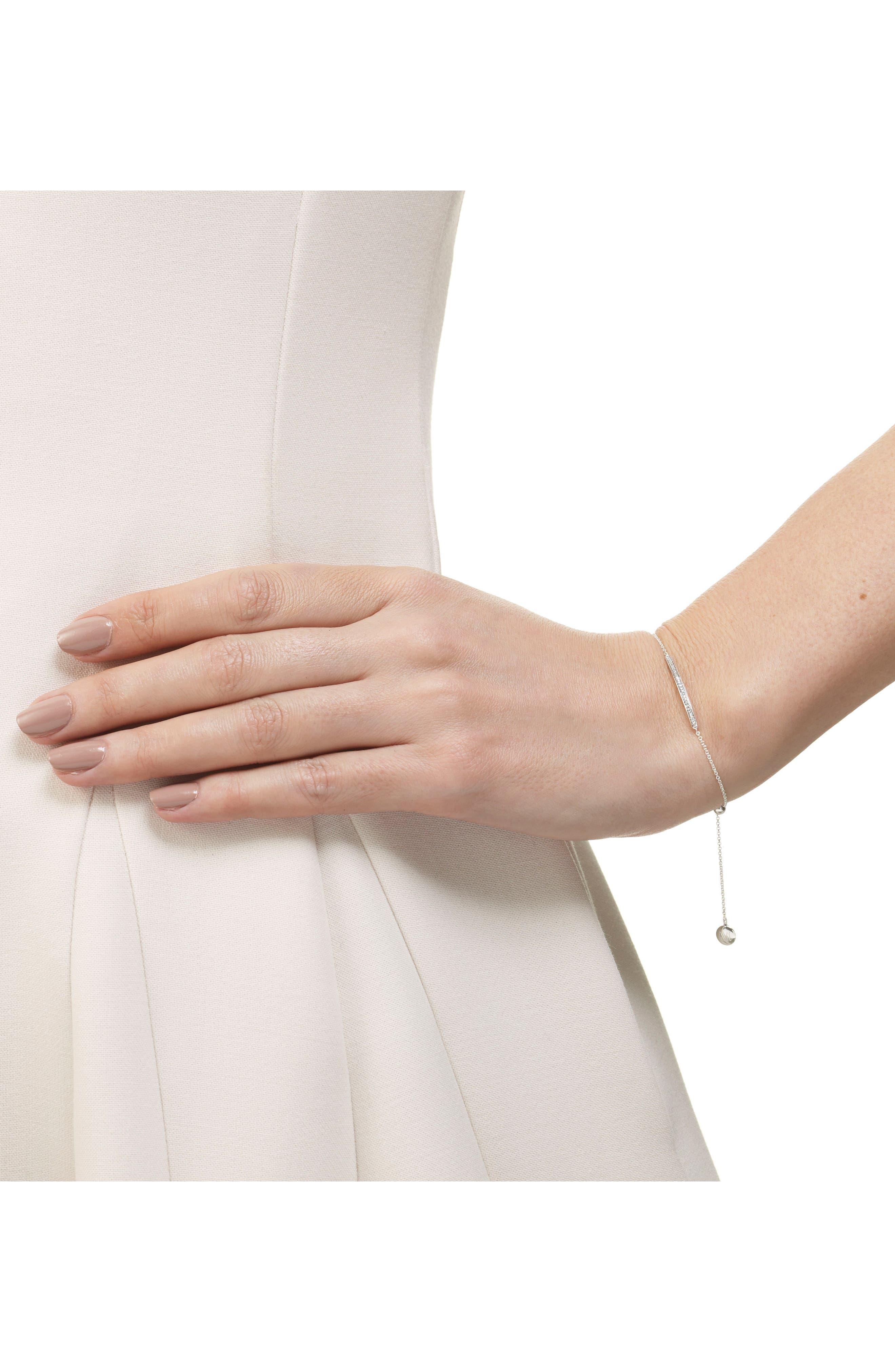 MONICA VINADER, Skinny Diamond Bracelet, Alternate thumbnail 2, color, SILVER/ DIAMOND