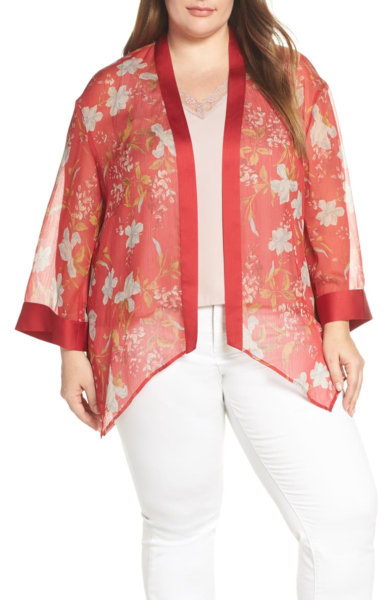Vince Camuto Tops GRACEFUL WILDFLOWER SHEER TOPPER