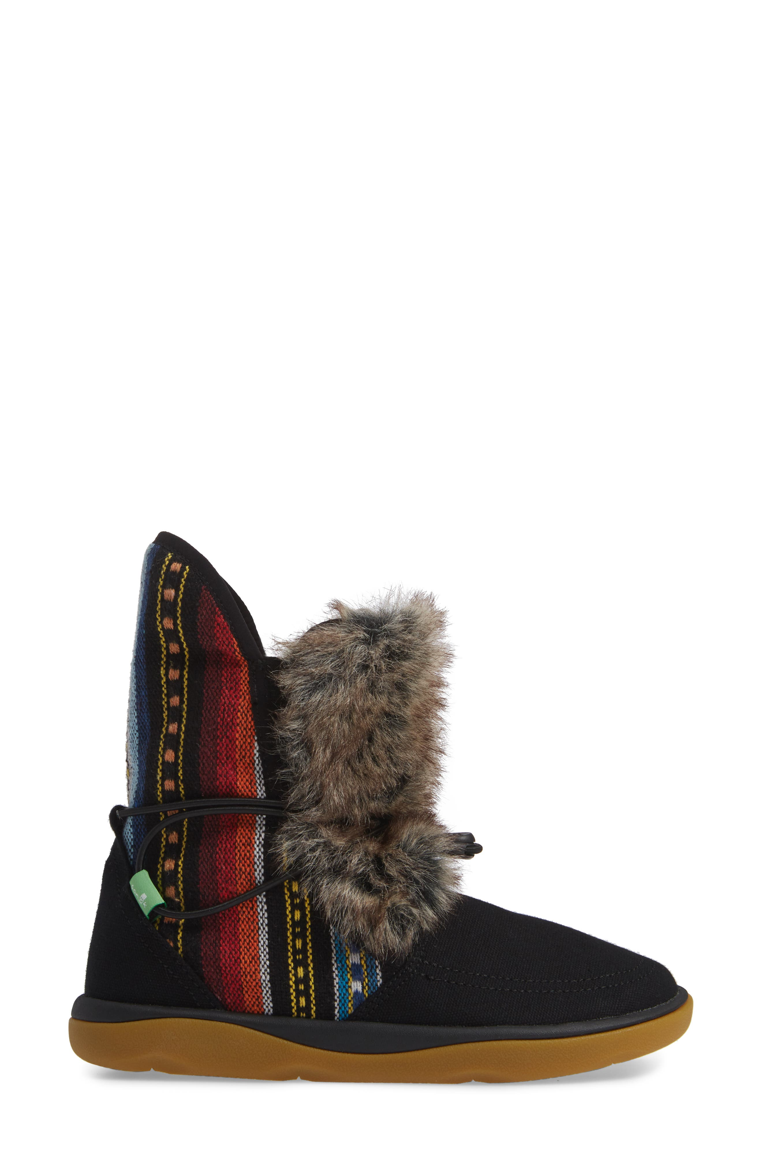 SANUK, Tripper Flurry Faux Fur Boot, Alternate thumbnail 3, color, BLACK