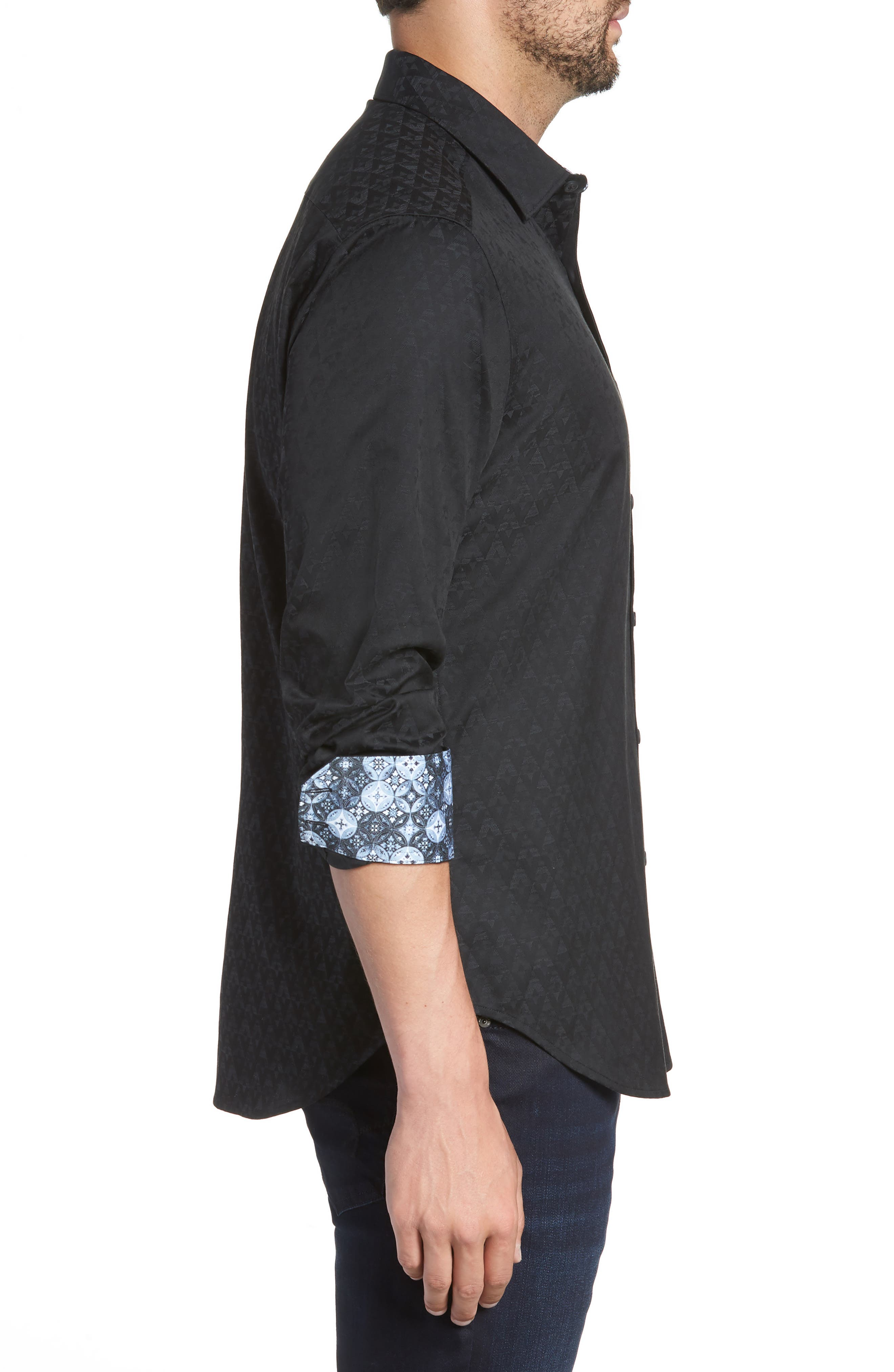 ROBERT GRAHAM, Classic Fit Stretch Geometric Sport Shirt, Alternate thumbnail 3, color, BLACK