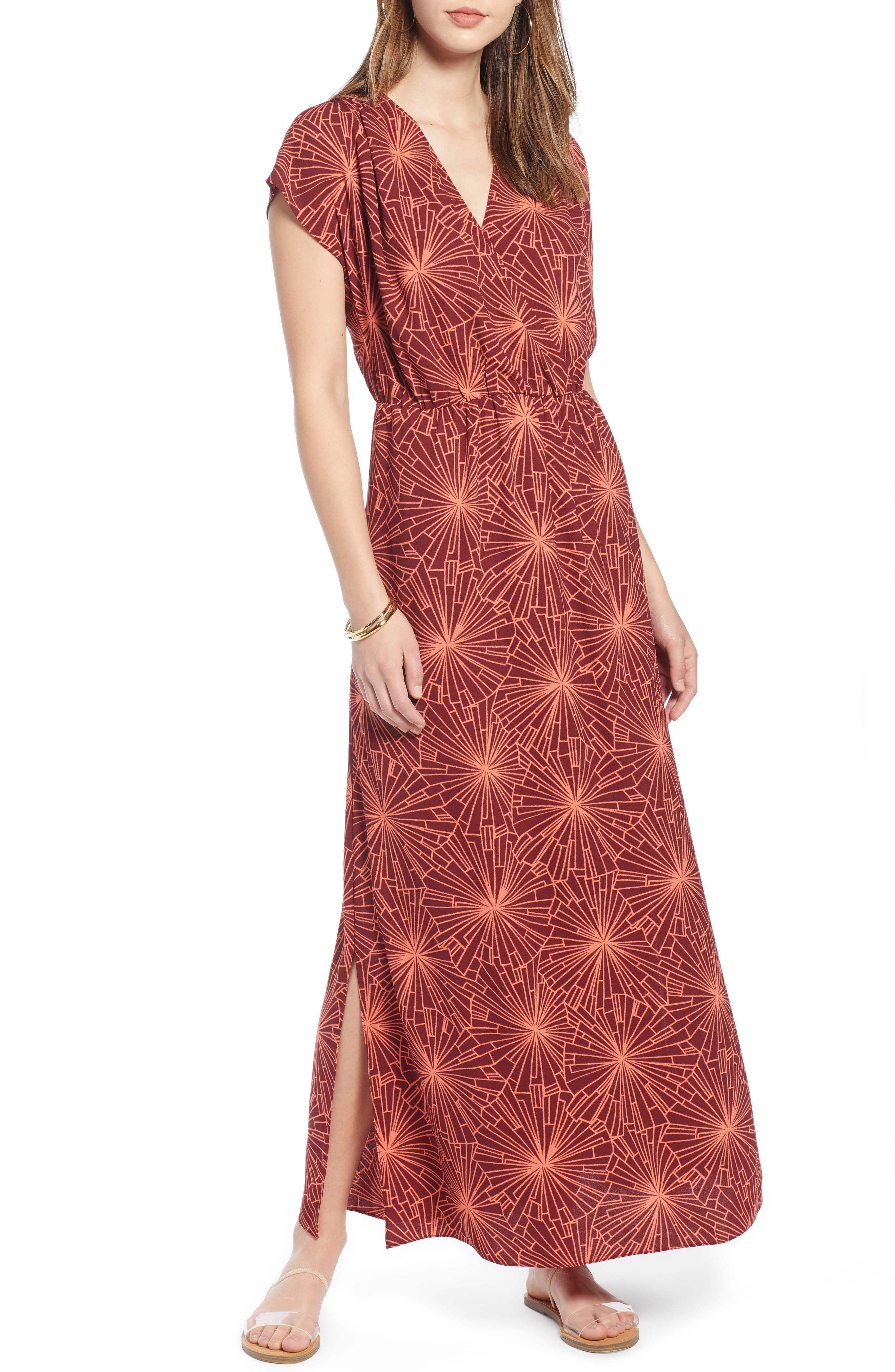 Halogen V-Neck Maxi Dress, Burgundy