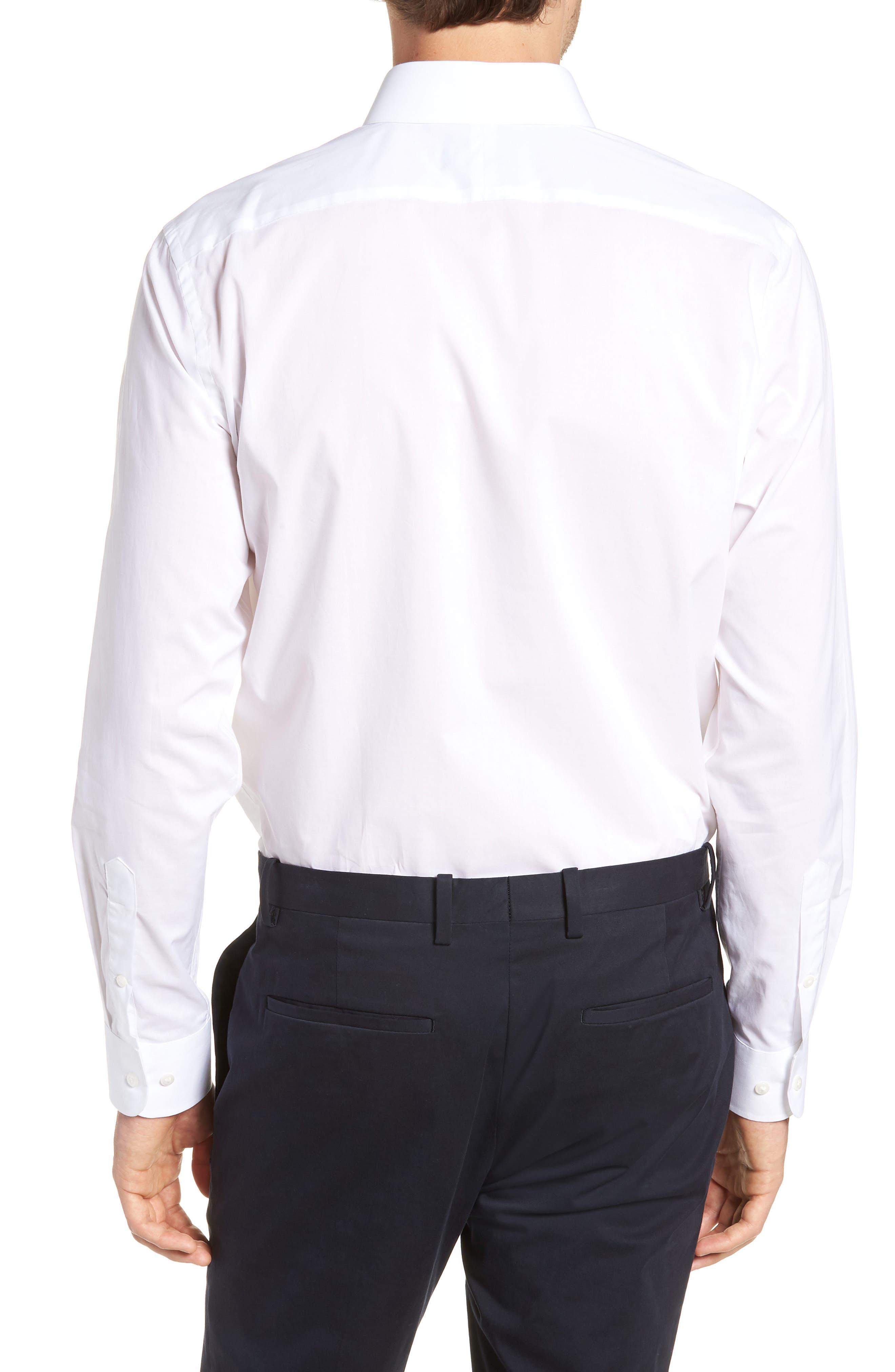 1901, Trim Fit Solid Dress Shirt, Alternate thumbnail 3, color, WHITE