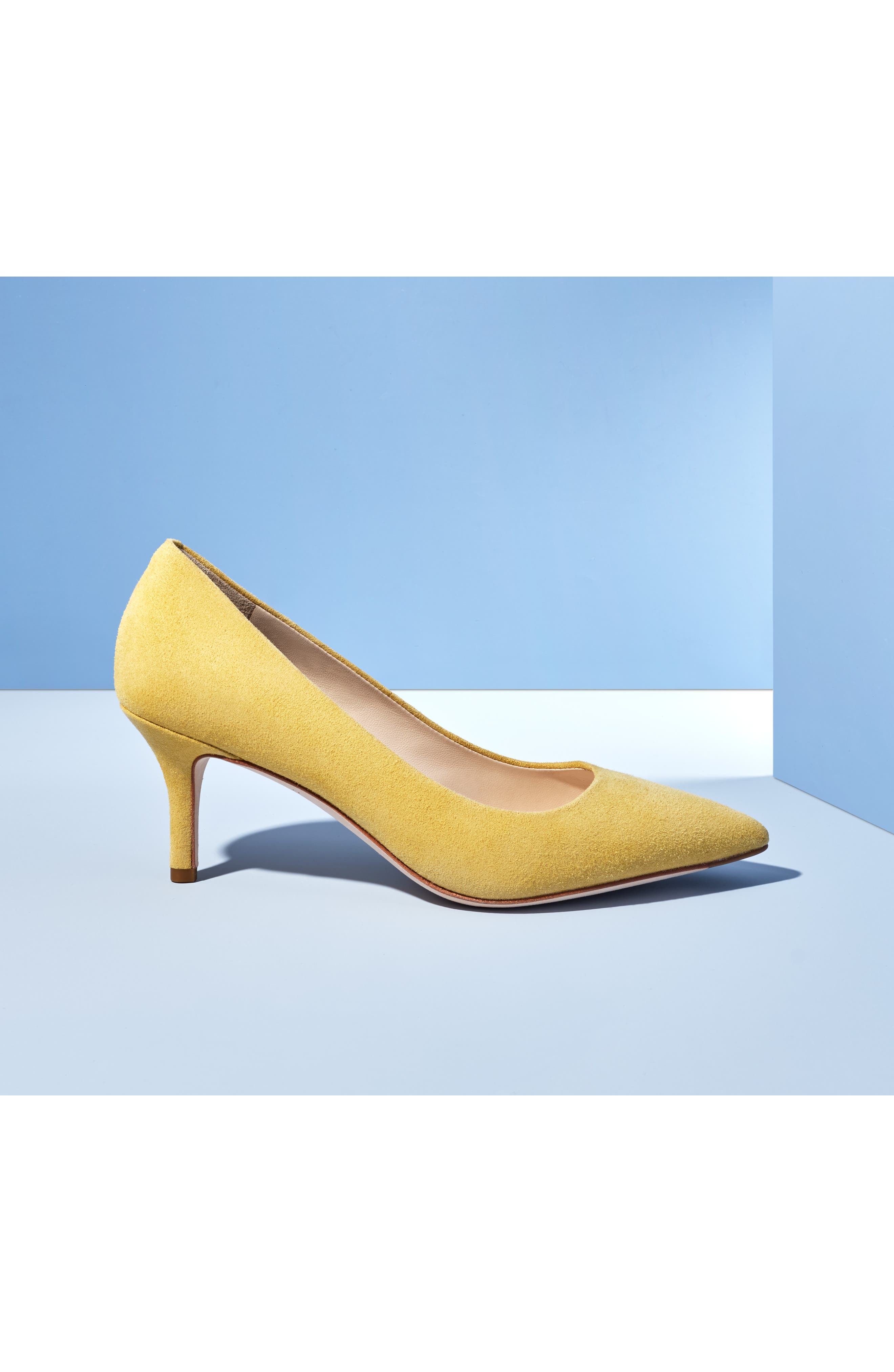 COLE HAAN, Vesta Pointy Toe Pump, Alternate thumbnail 8, color, SUNSET GOLD SUEDE