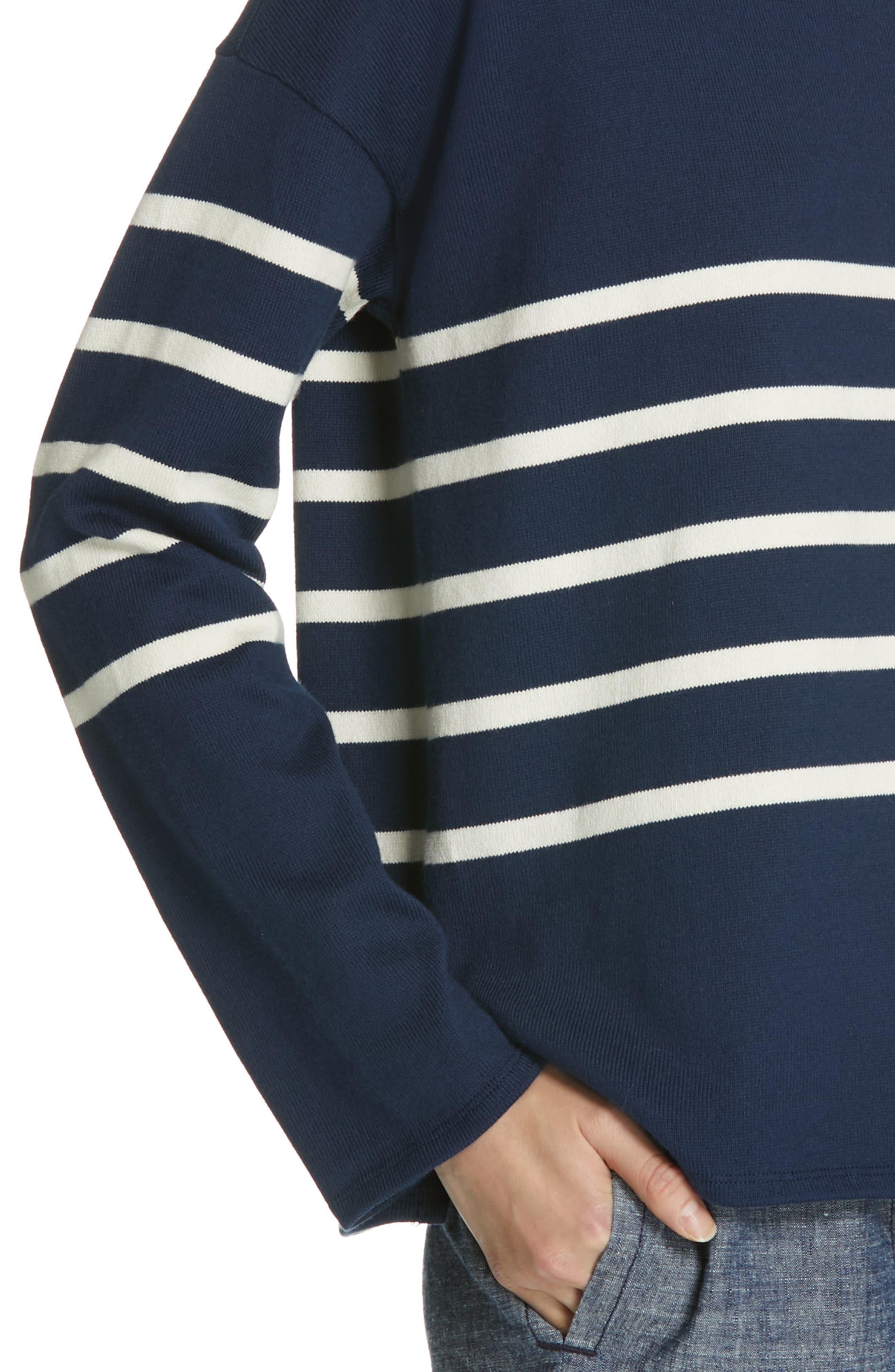 EILEEN FISHER, Stripe Organic Cotton Sweater, Alternate thumbnail 4, color, DENIM