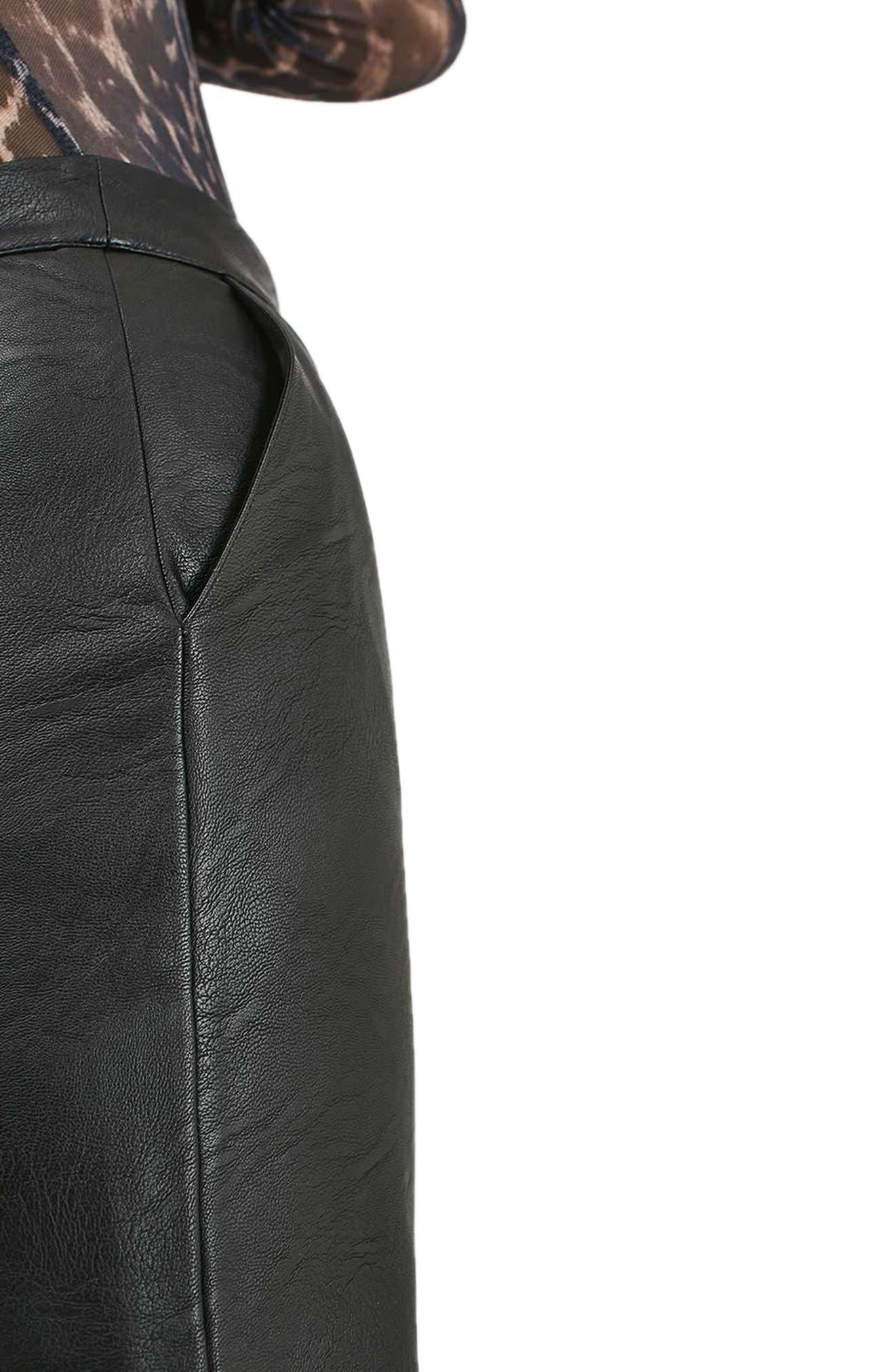 TOPSHOP, Faux Leather Pencil Skirt, Alternate thumbnail 3, color, 001