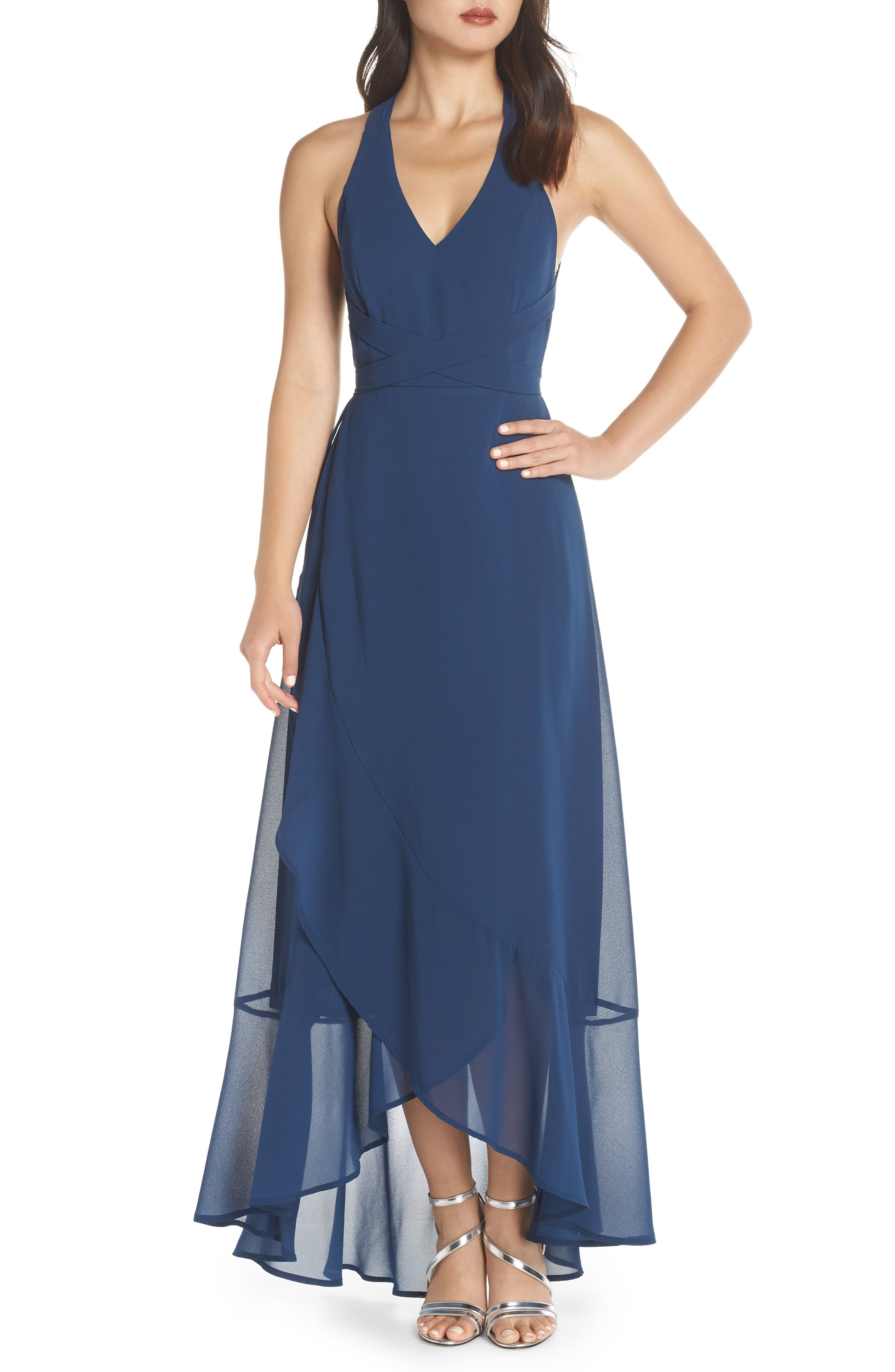 LULUS, Wrap of Luxury Convertible Gown, Main thumbnail 1, color, NAVY