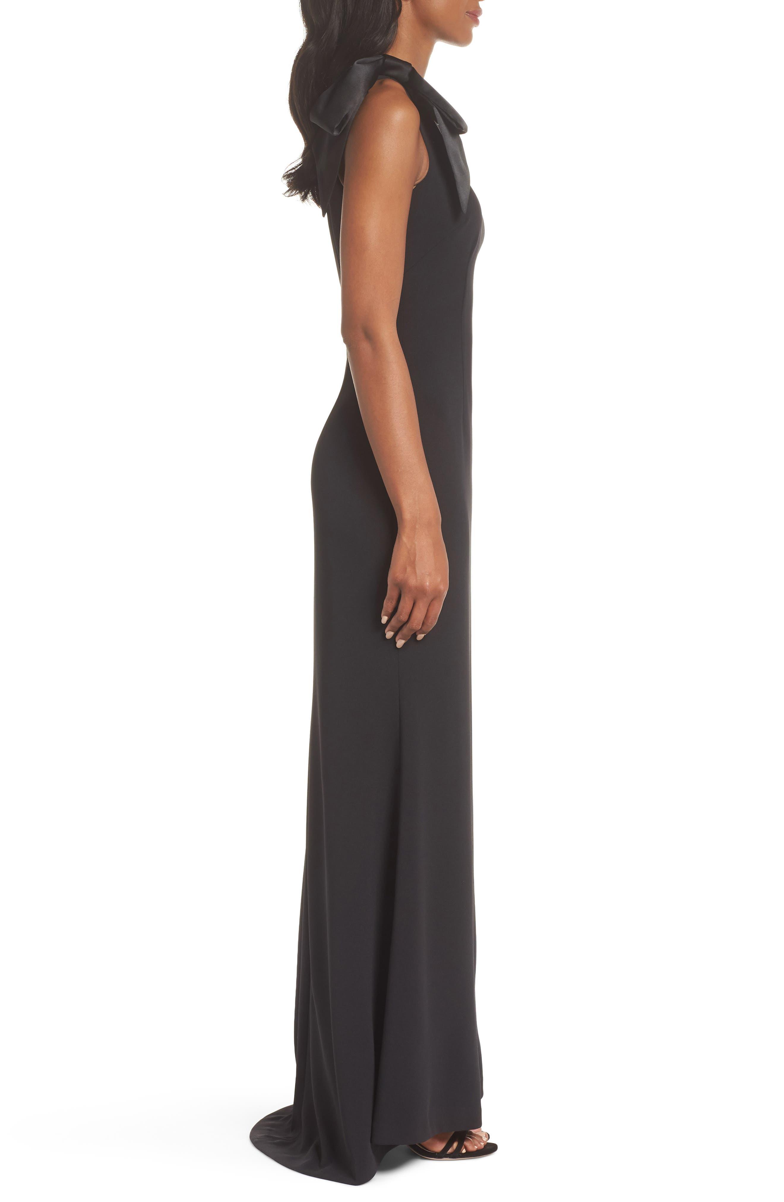 ELIZA J, One-Shoulder A-Line Gown, Alternate thumbnail 4, color, BLACK