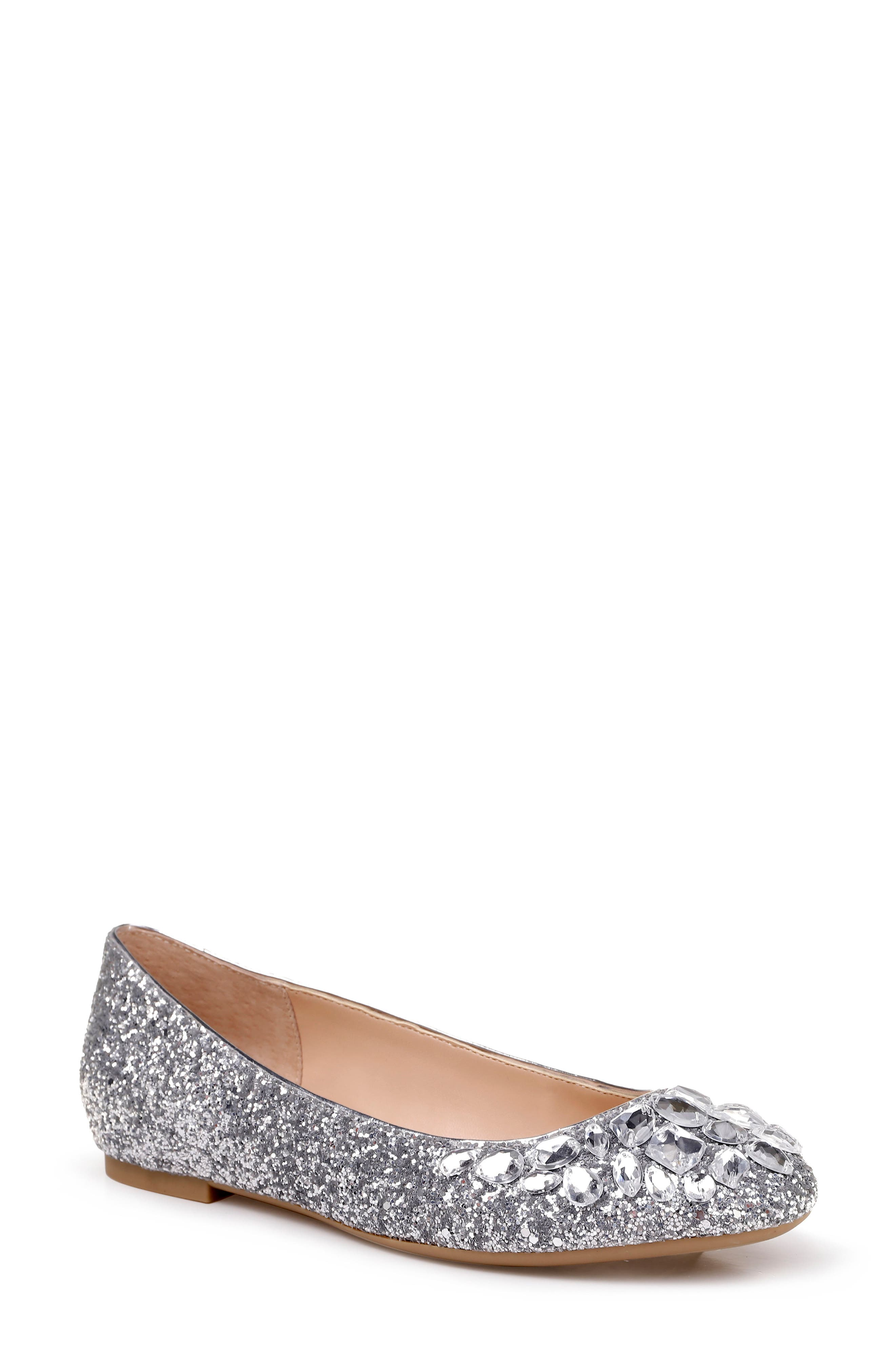 JEWEL BADGLEY MISCHKA, Mathilda Embellished Ballet Flat, Main thumbnail 1, color, SILVER GLITTER