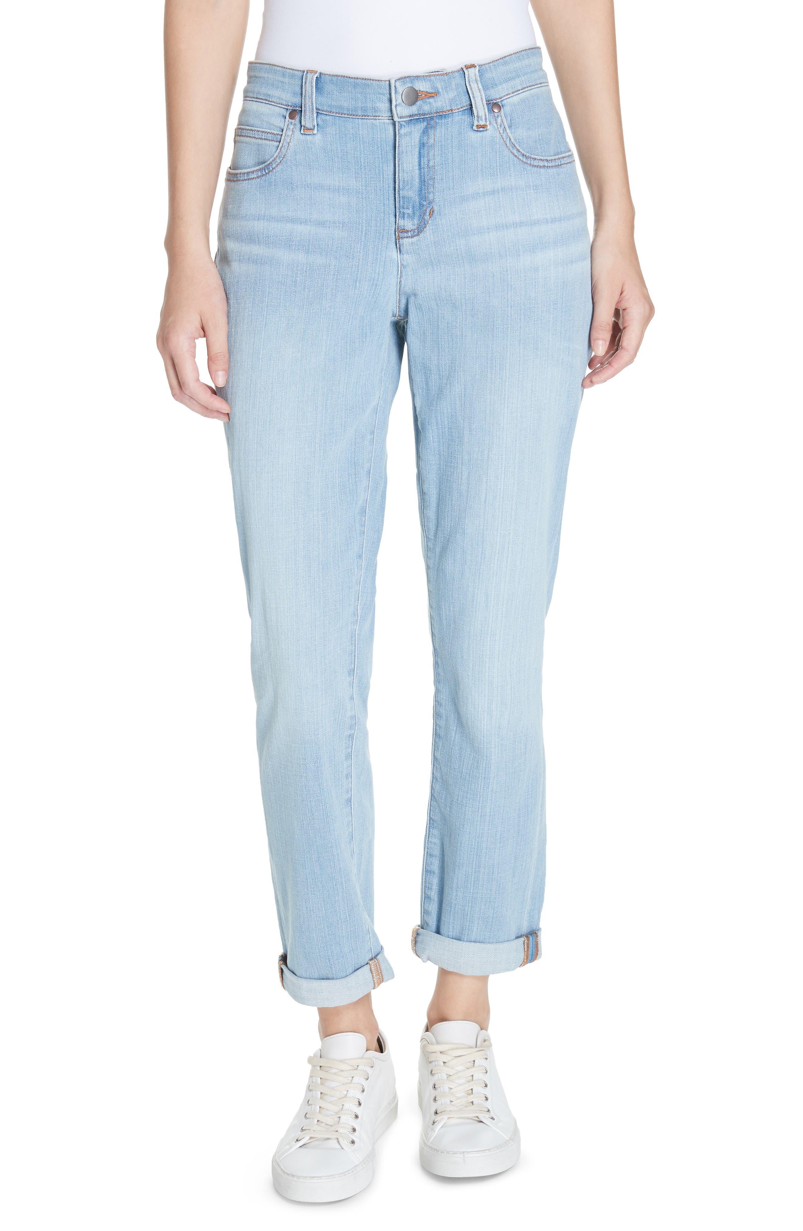 EILEEN FISHER Organic Cotton Boyfriend Jeans, Main, color, ICE BLUE