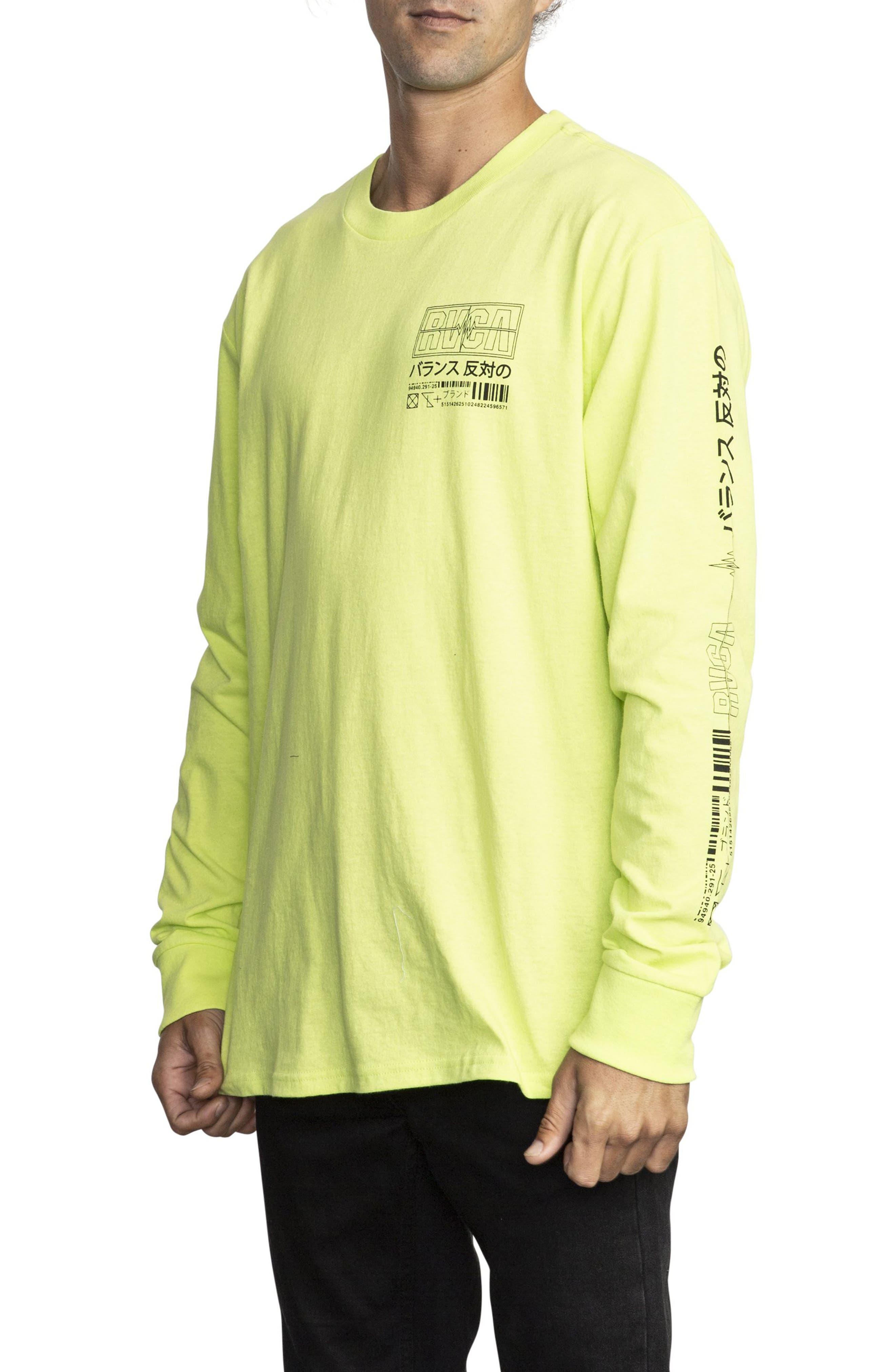 RVCA, Super Fun Long Sleeve T-Shirt, Alternate thumbnail 3, color, ACID YELLOW