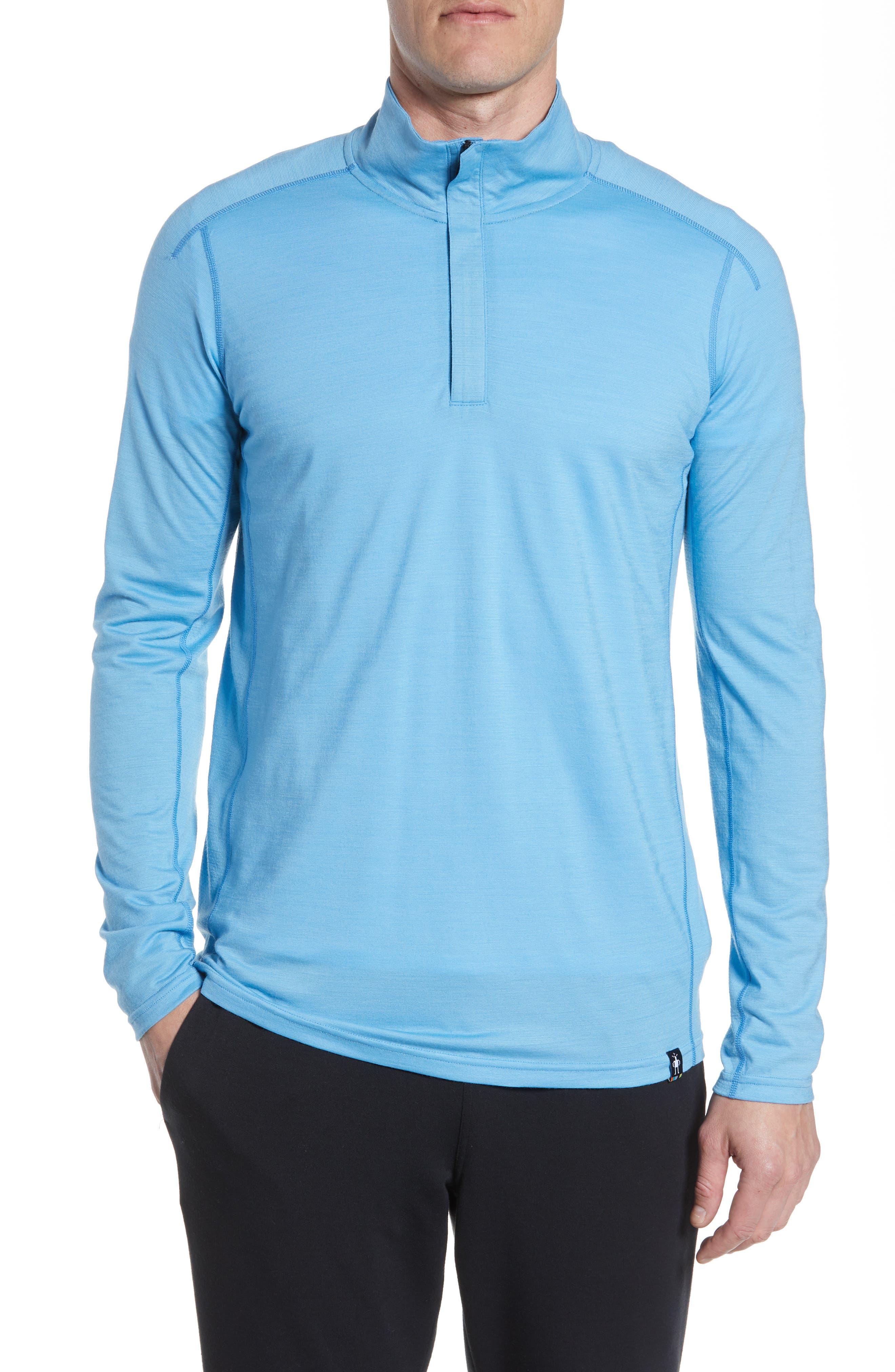 Smartwool Quarter Zip Merino Blend Pullover, Blue