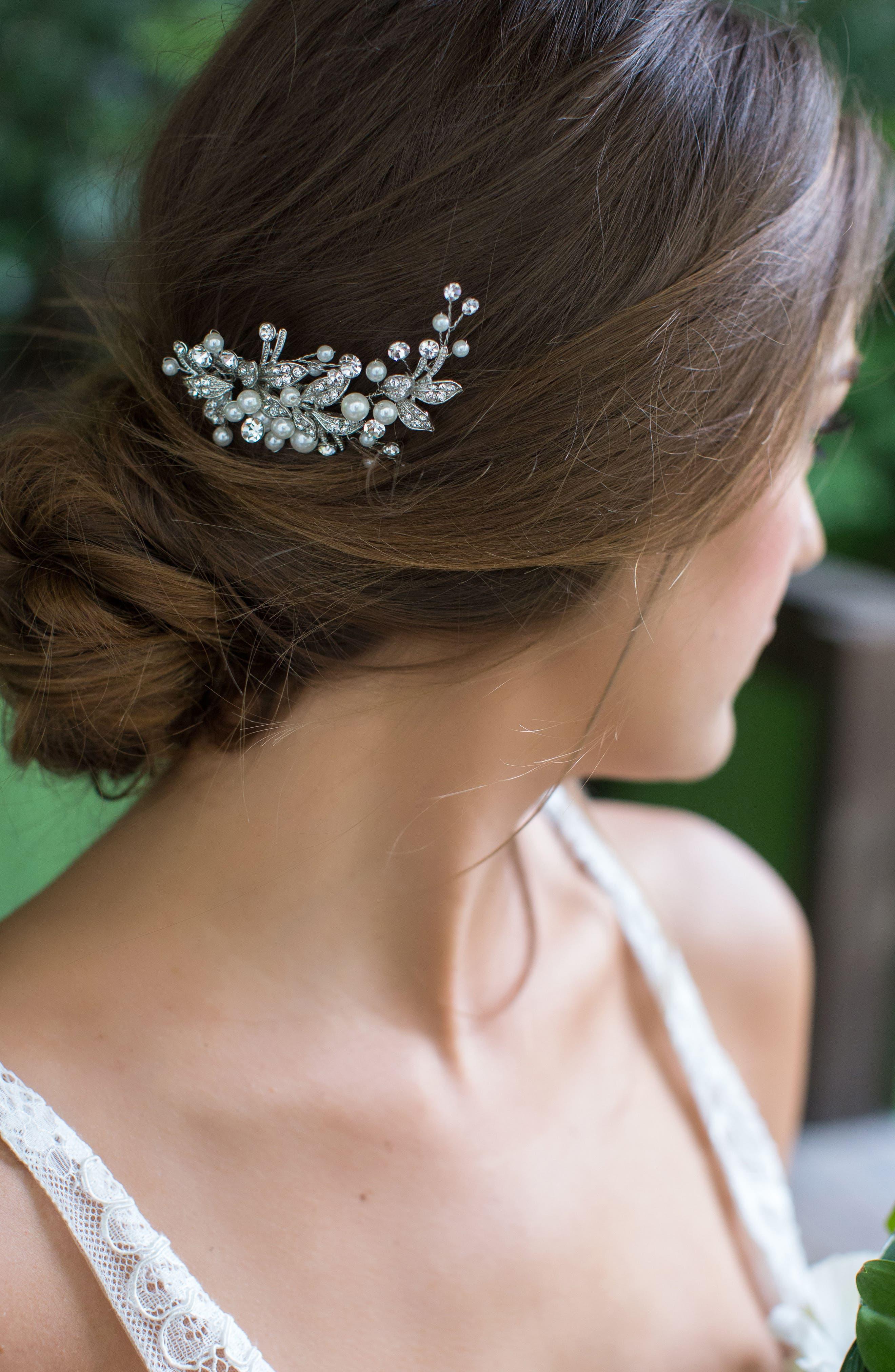 BRIDES & HAIRPINS, 'Catherine' Jeweled Hair Comb, Alternate thumbnail 2, color, ANTIQUE PLATINUM