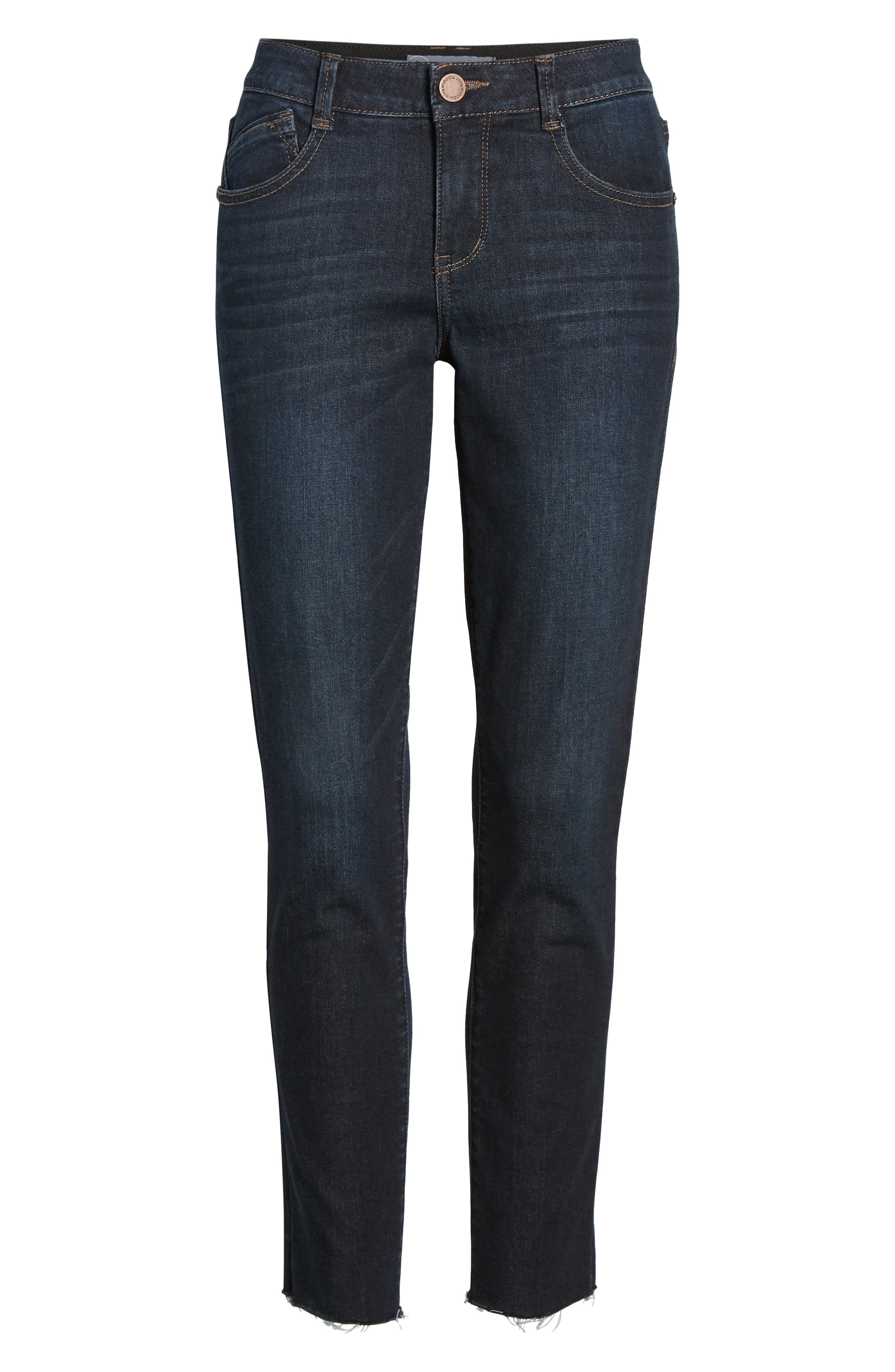 WIT & WISDOM, Ab-Solution Raw Hem Skinny Jeans, Alternate thumbnail 7, color, INDIGO