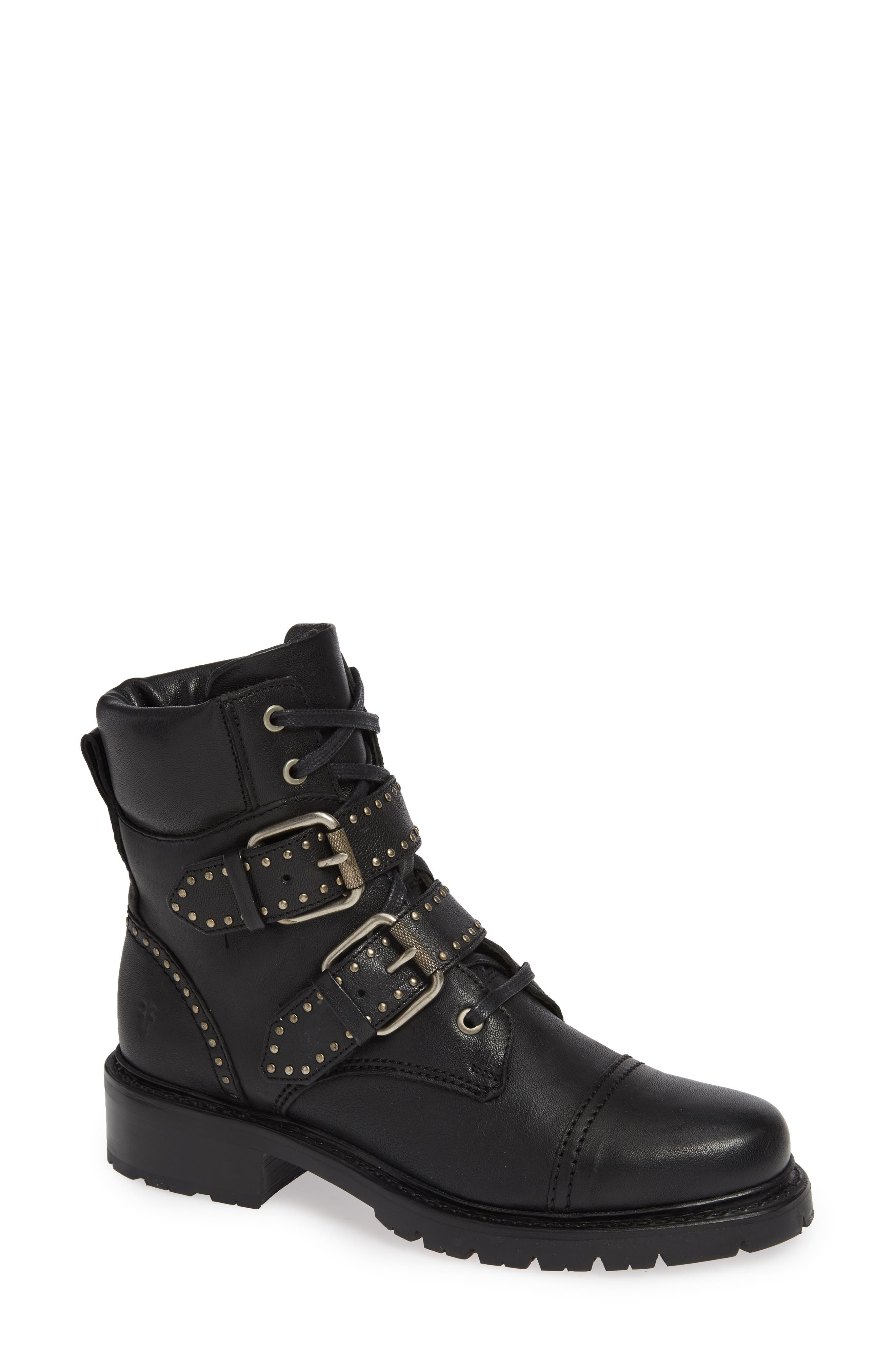 FRYE, Samantha Stud Buckle Boots, Main thumbnail 1, color, BLACK LEATHER
