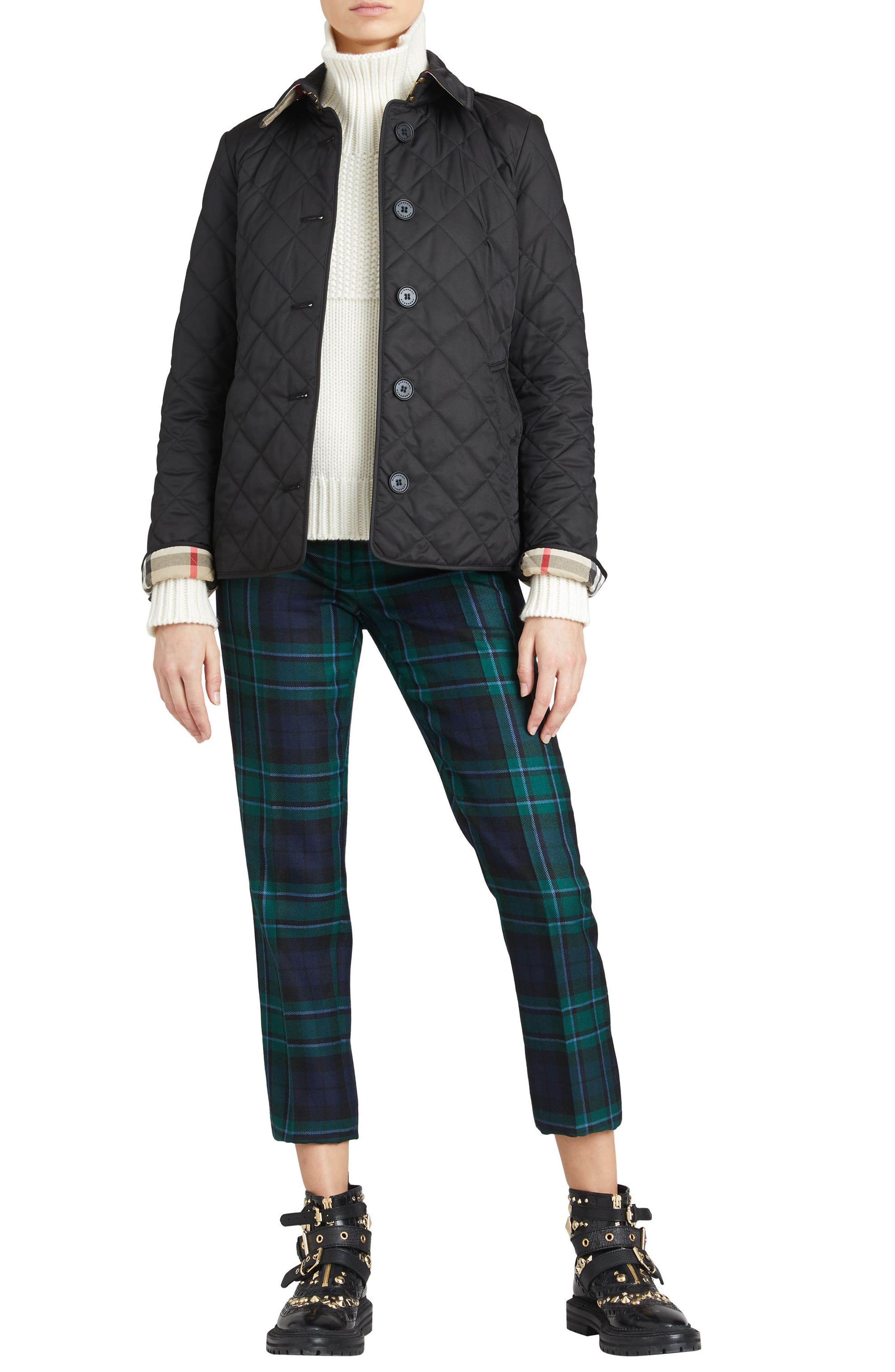 BURBERRY, Frankby Quilted Jacket, Alternate thumbnail 7, color, 001