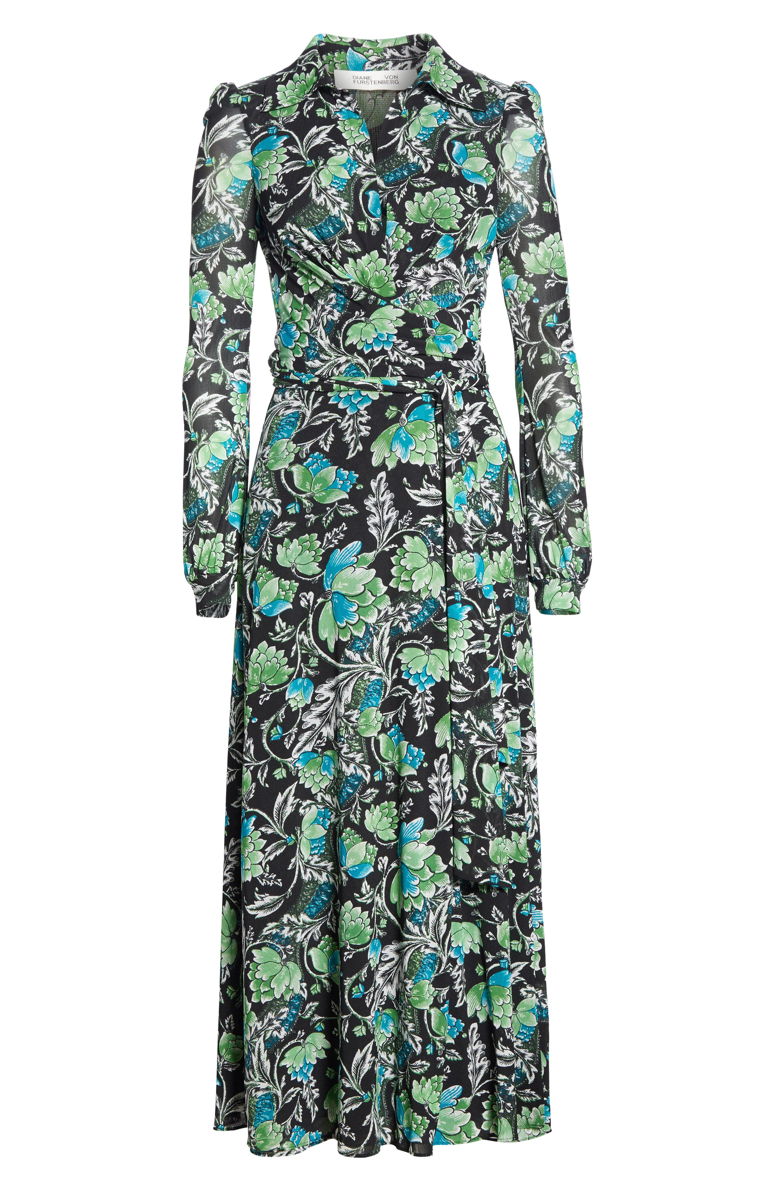 DVF, Phoenix Floral Print Wrap Dress, Alternate thumbnail 7, color, 001