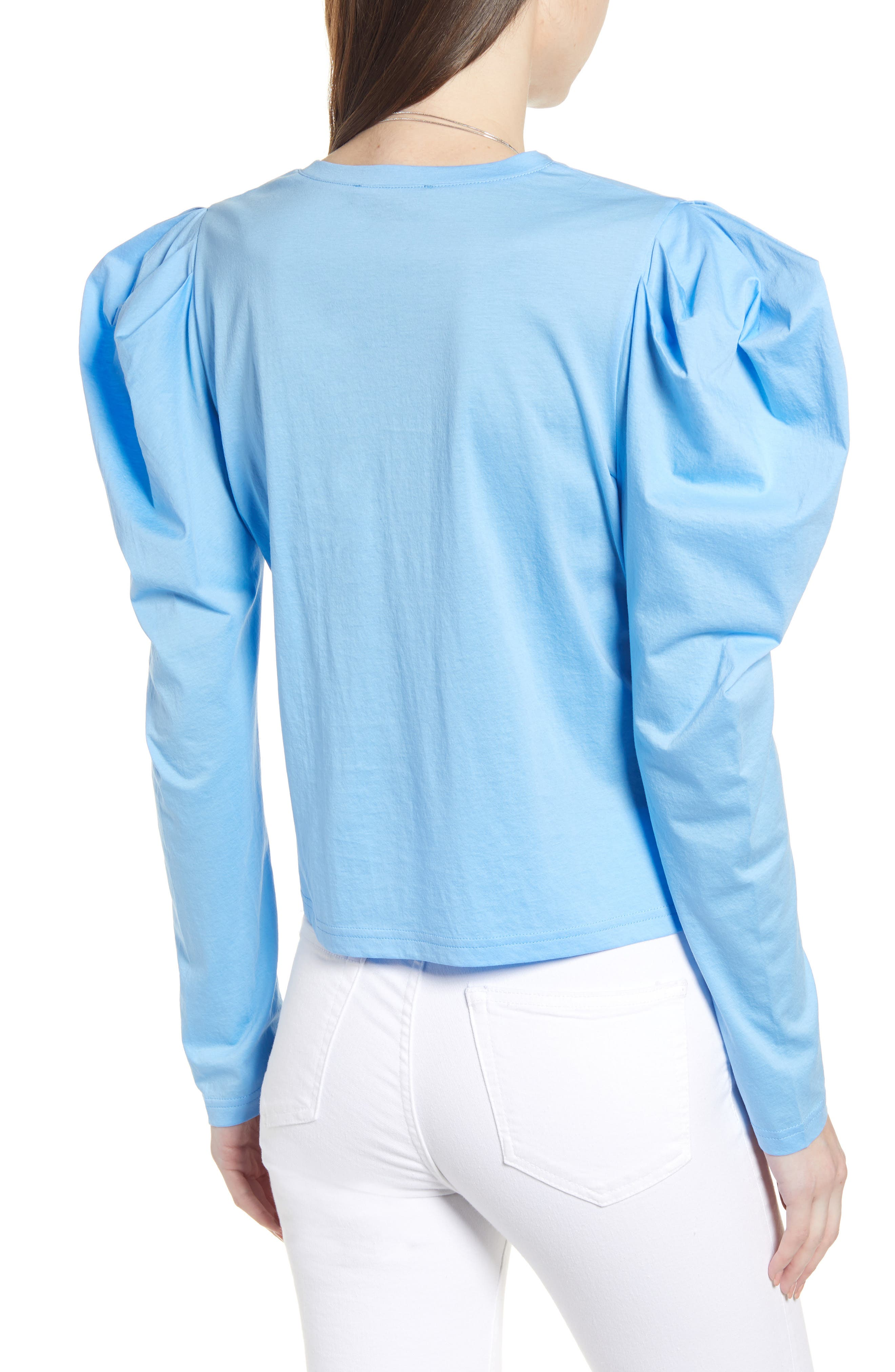 SOMETHING NAVY, Strong Shoulder Top, Alternate thumbnail 4, color, BLUE BOY
