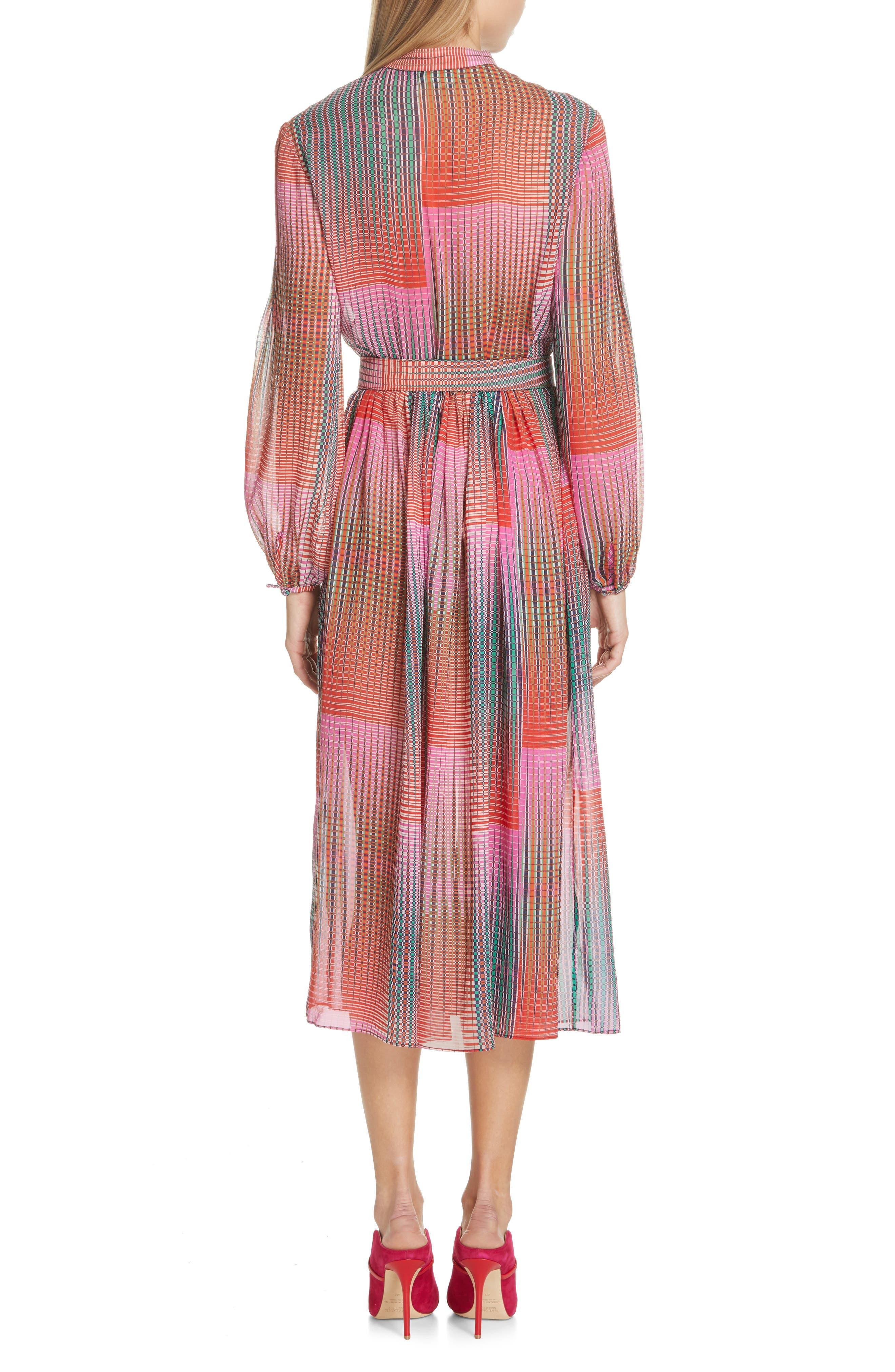 SALONI, Raquel Belted Silk Midi Dress, Alternate thumbnail 2, color, EMERALD ILLUSION