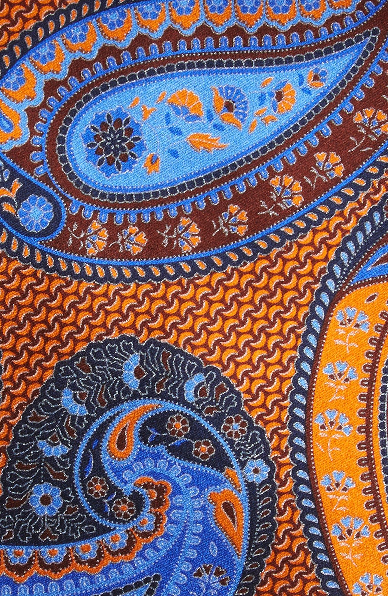 ERMENEGILDO ZEGNA, Paisley Silk Tie, Alternate thumbnail 2, color, ORANGE