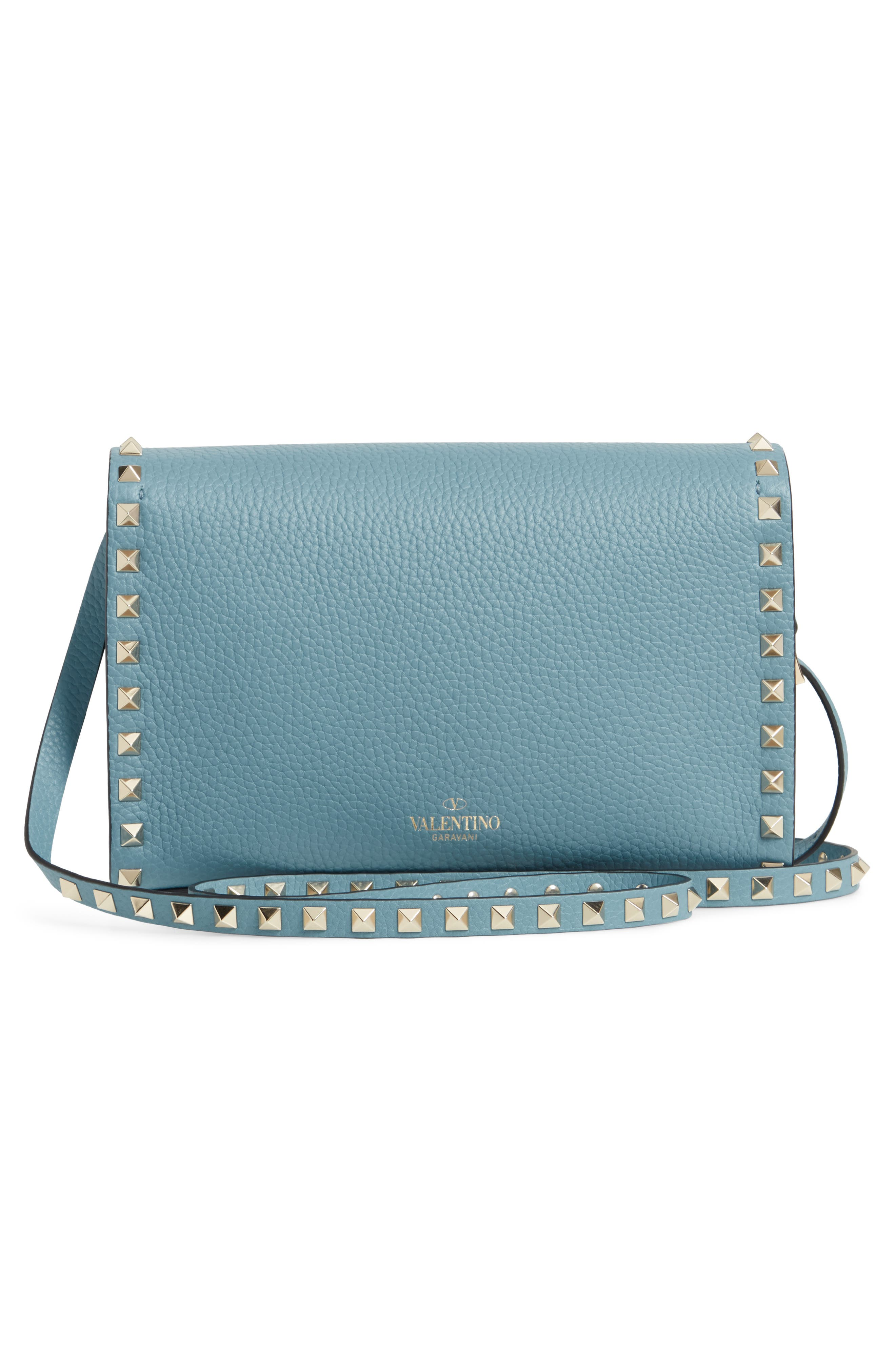 VALENTINO GARAVANI, Medium Rockstud Leather Crossbody Bag, Alternate thumbnail 3, color, 485