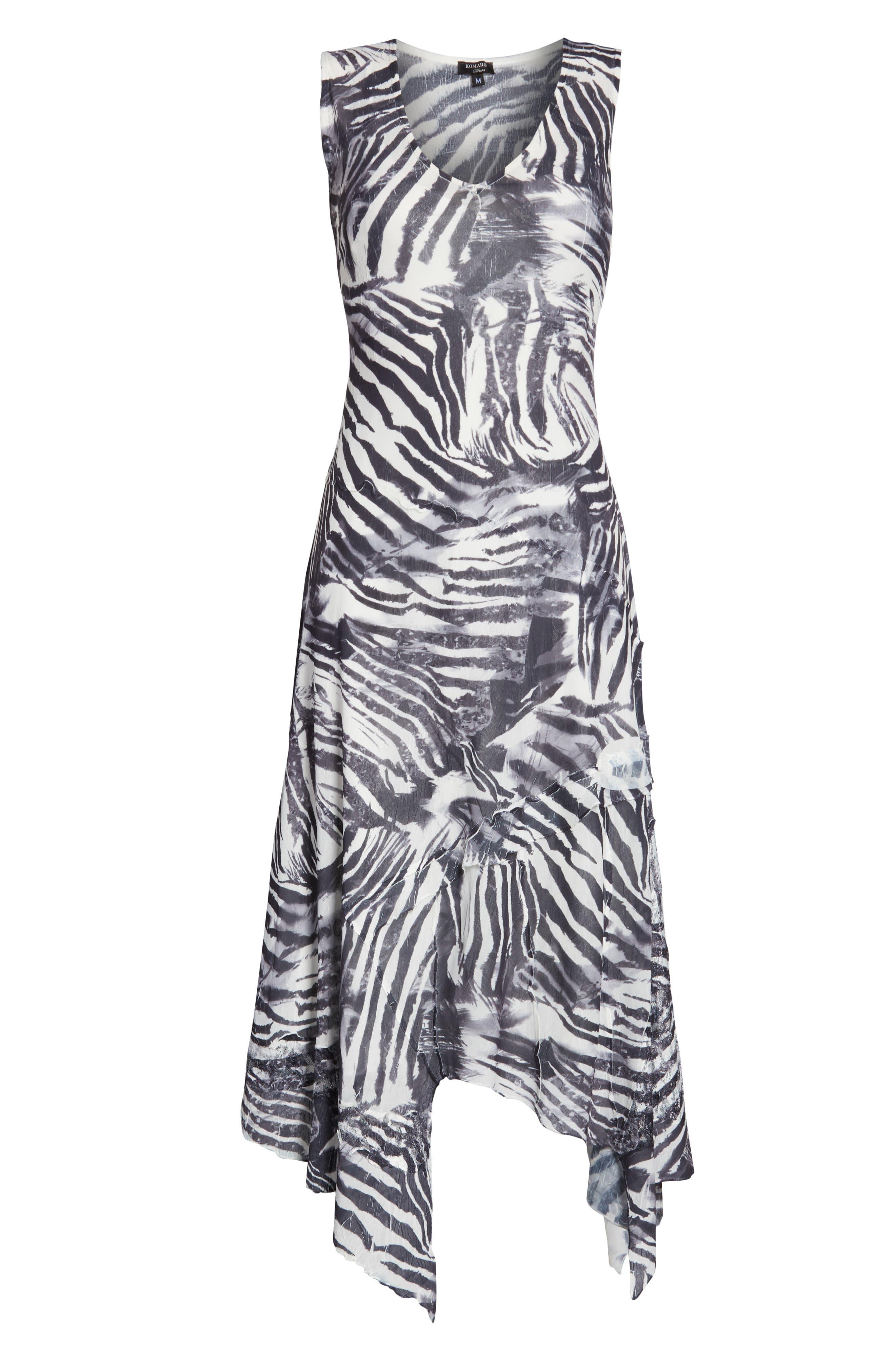 KOMAROV, Handkerchief Hem Dress, Alternate thumbnail 5, color, ABSTRACT ANIMAL