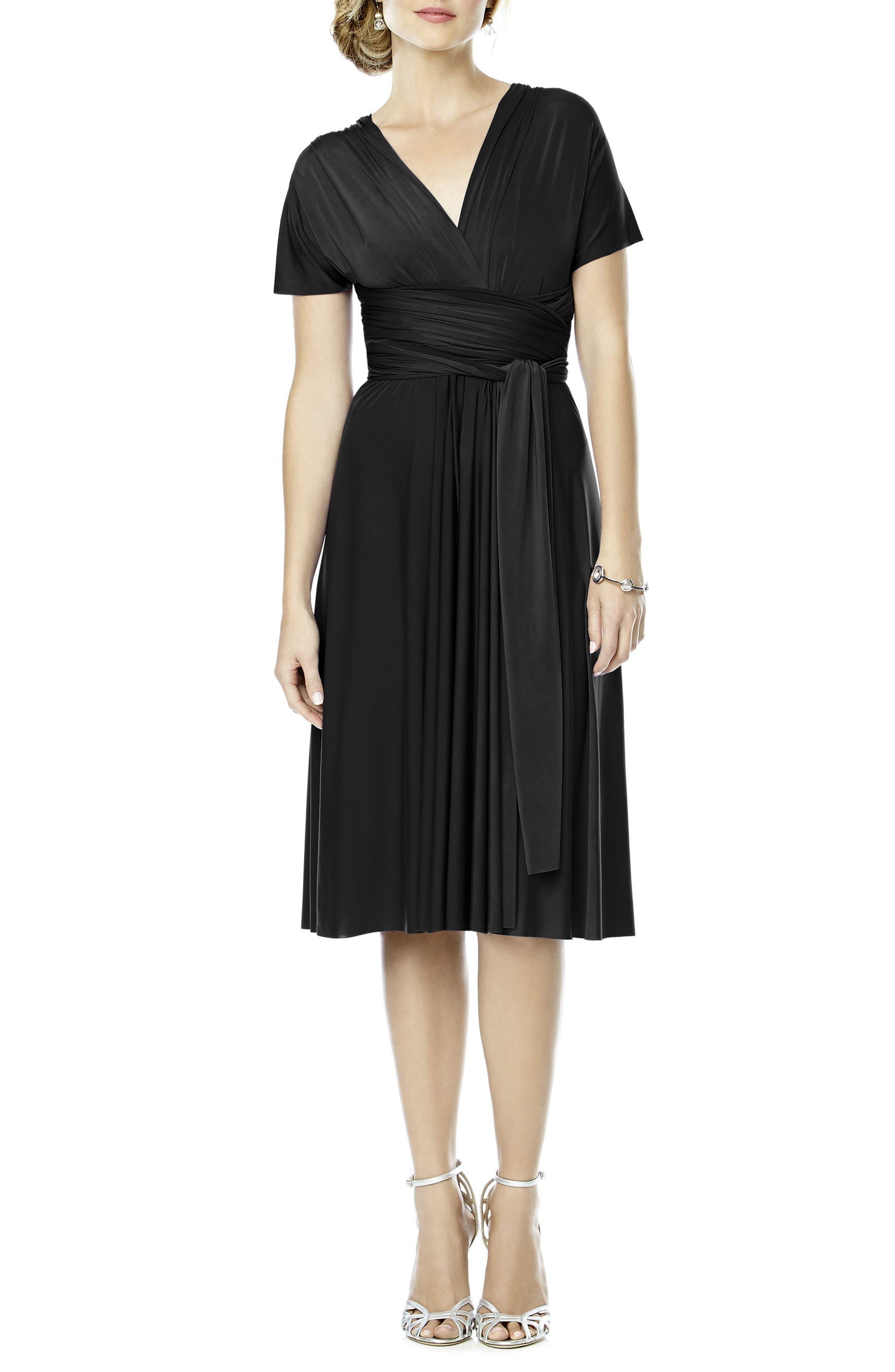 DESSY COLLECTION, Convertible Wrap Tie Surplice Jersey Dress, Main thumbnail 1, color, 001