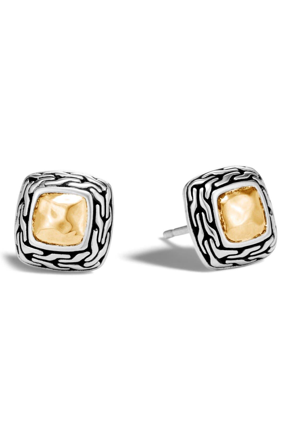JOHN HARDY, Heritage Stud Earrings, Main thumbnail 1, color, SILVER/ GOLD