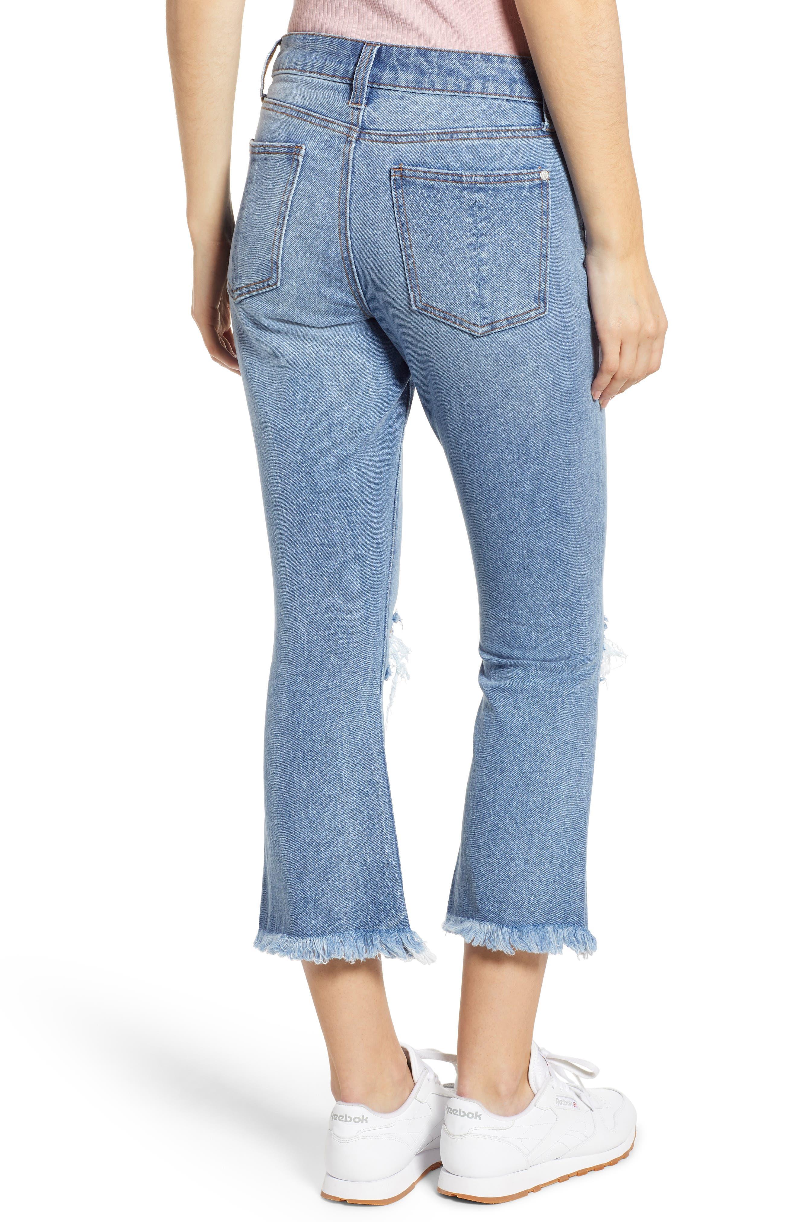 PROSPERITY DENIM, Ripped Crop Flare Jeans, Alternate thumbnail 2, color, MEDIUM WASH