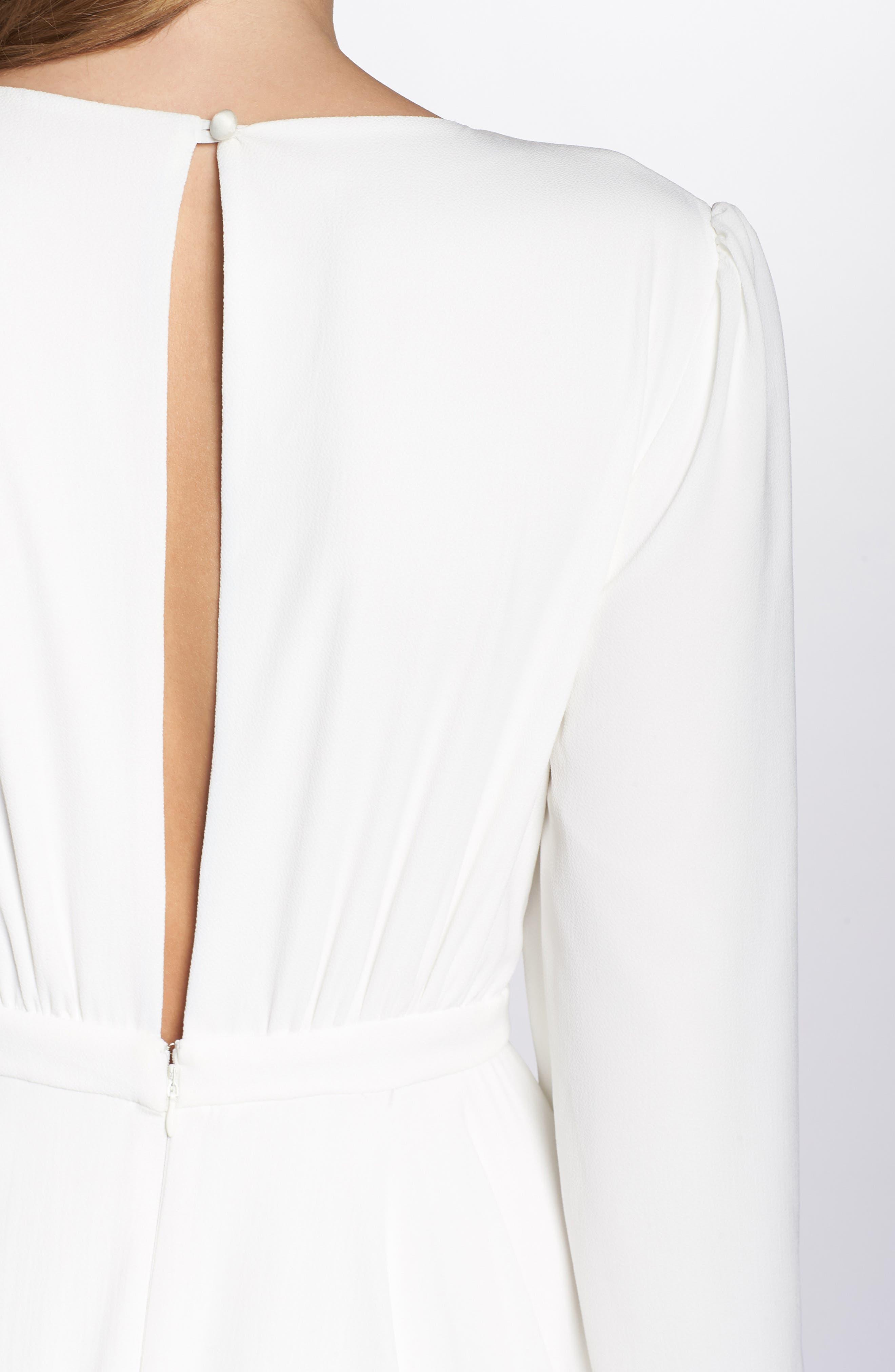JOANNA AUGUST, Floyd V-Neck Long Sleeve Gown, Alternate thumbnail 4, color, WHITE