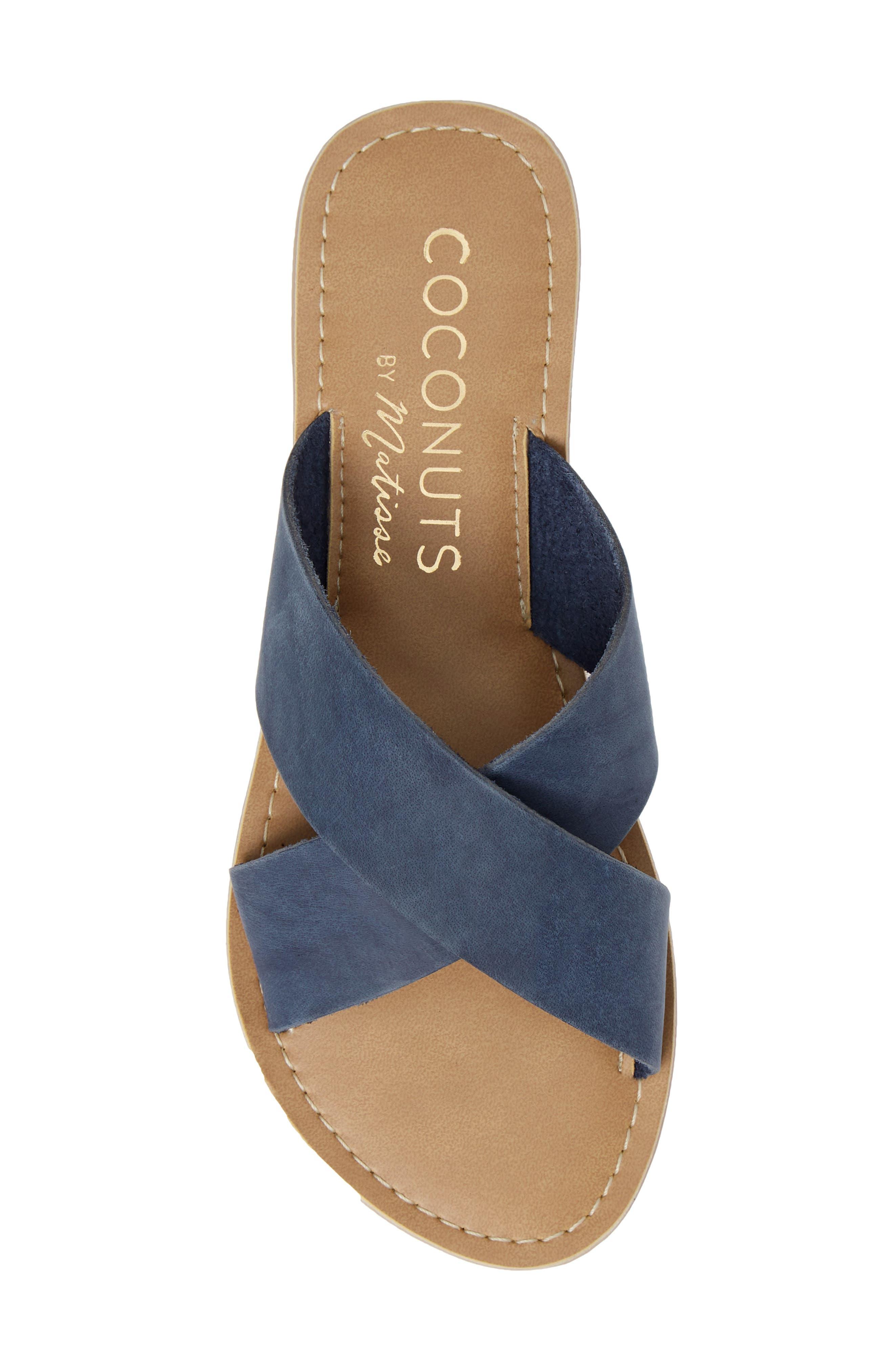 COCONUTS BY MATISSE, Pebble Slide Sandal, Alternate thumbnail 5, color, BLUE NUBUCK LEATHER