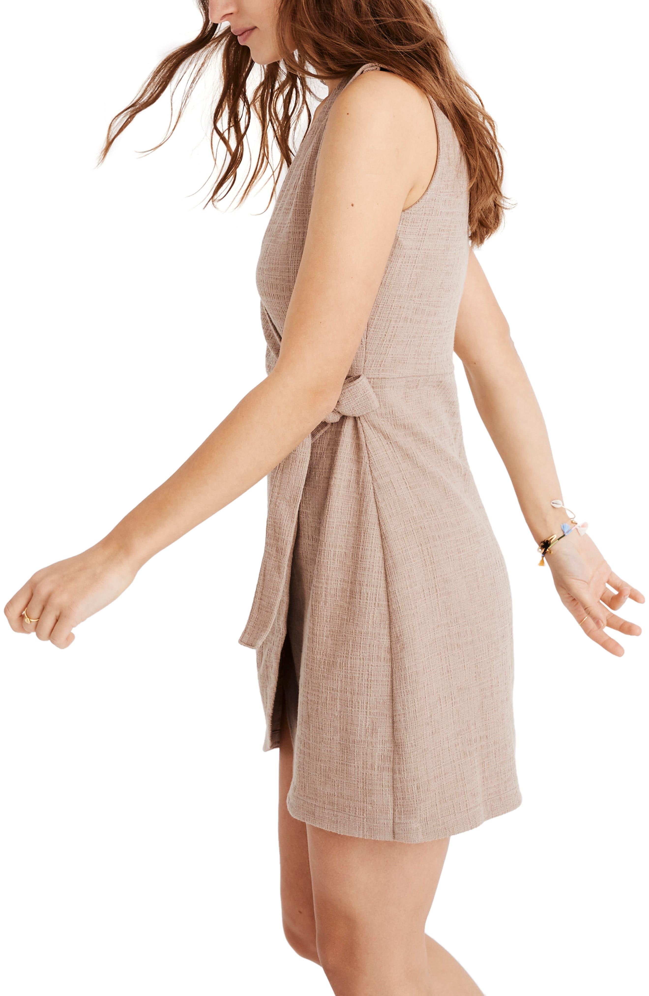 MADEWELL, Texture & Thread Side Tie Minidress, Alternate thumbnail 5, color, TELLURIDE STONE