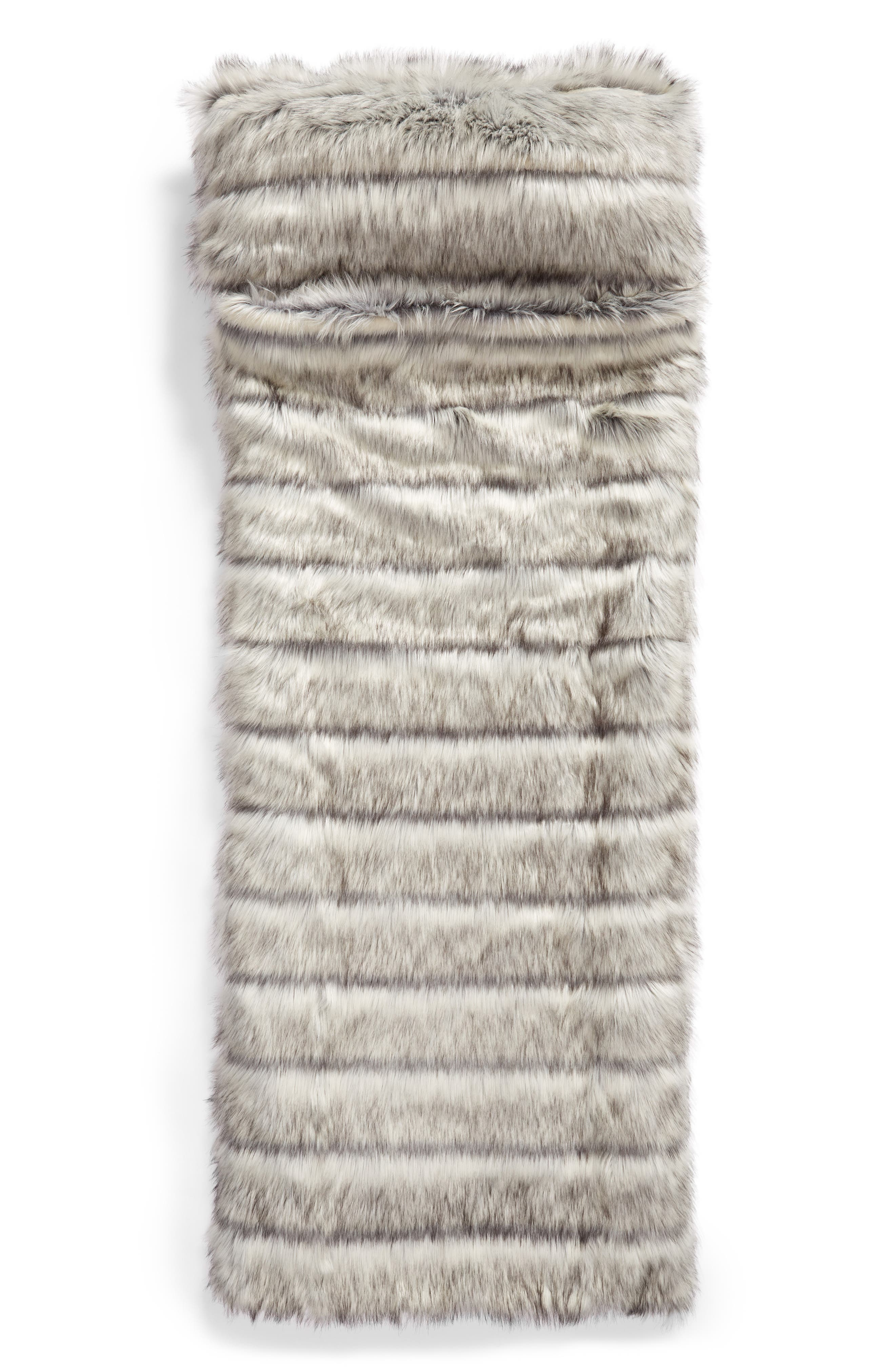 NORDSTROM AT HOME, Luxe Faux Fur Slumber Bag, Main thumbnail 1, color, GREY FROST MULTI