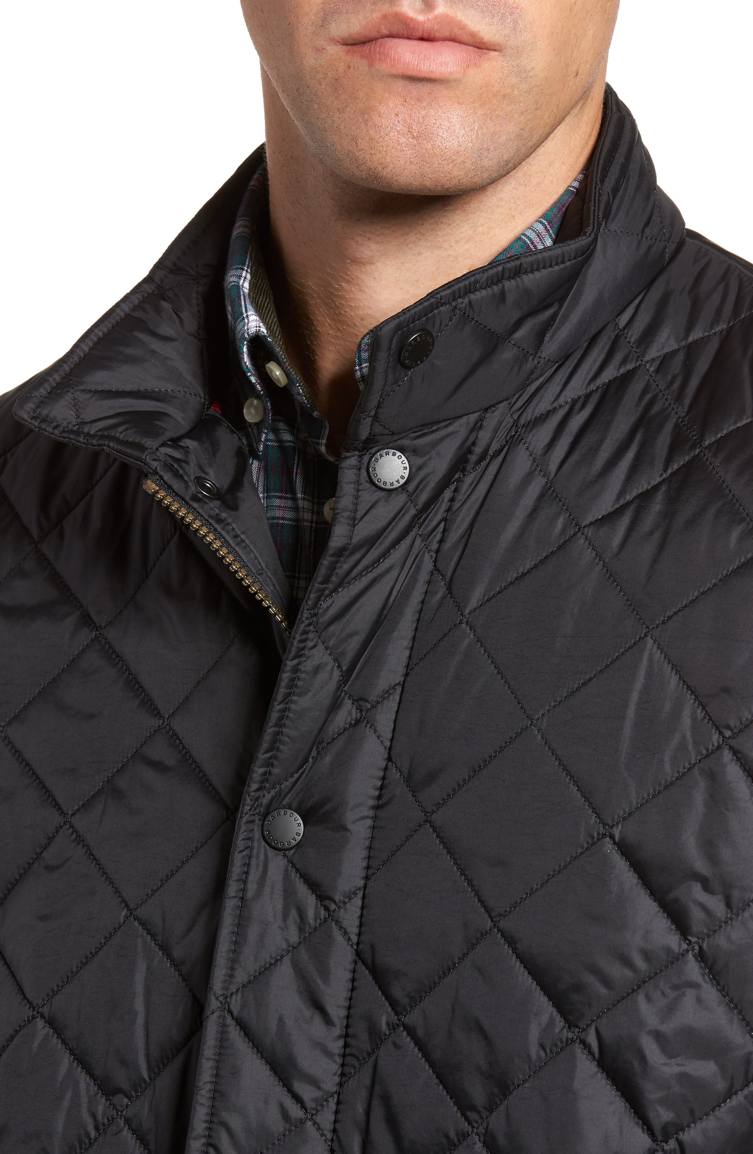 BARBOUR, Flyweight Chelsea Quilted Jacket, Alternate thumbnail 5, color, BLACK