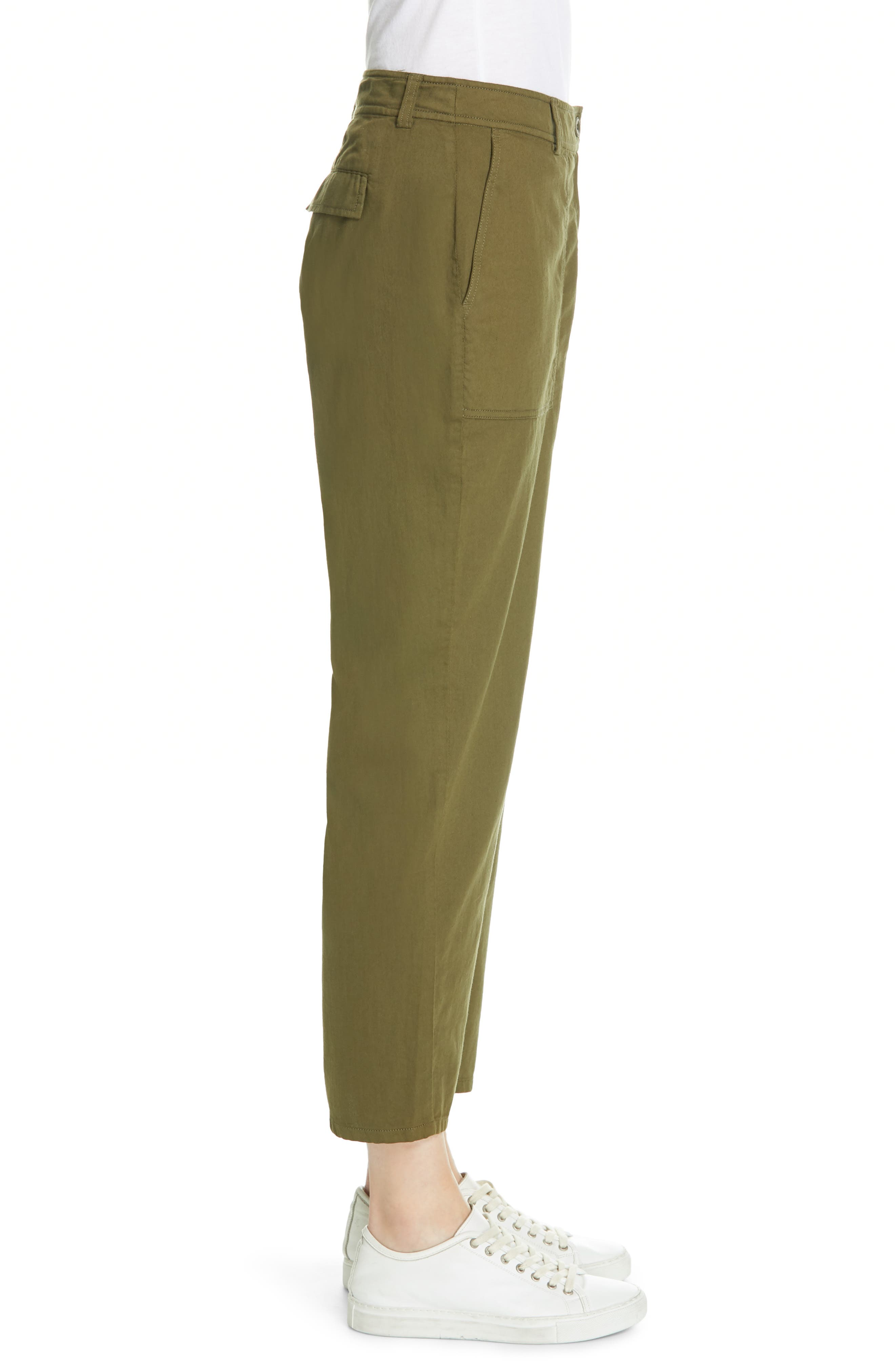 EILEEN FISHER, Slouchy Ankle Pants, Alternate thumbnail 4, color, OLIVE