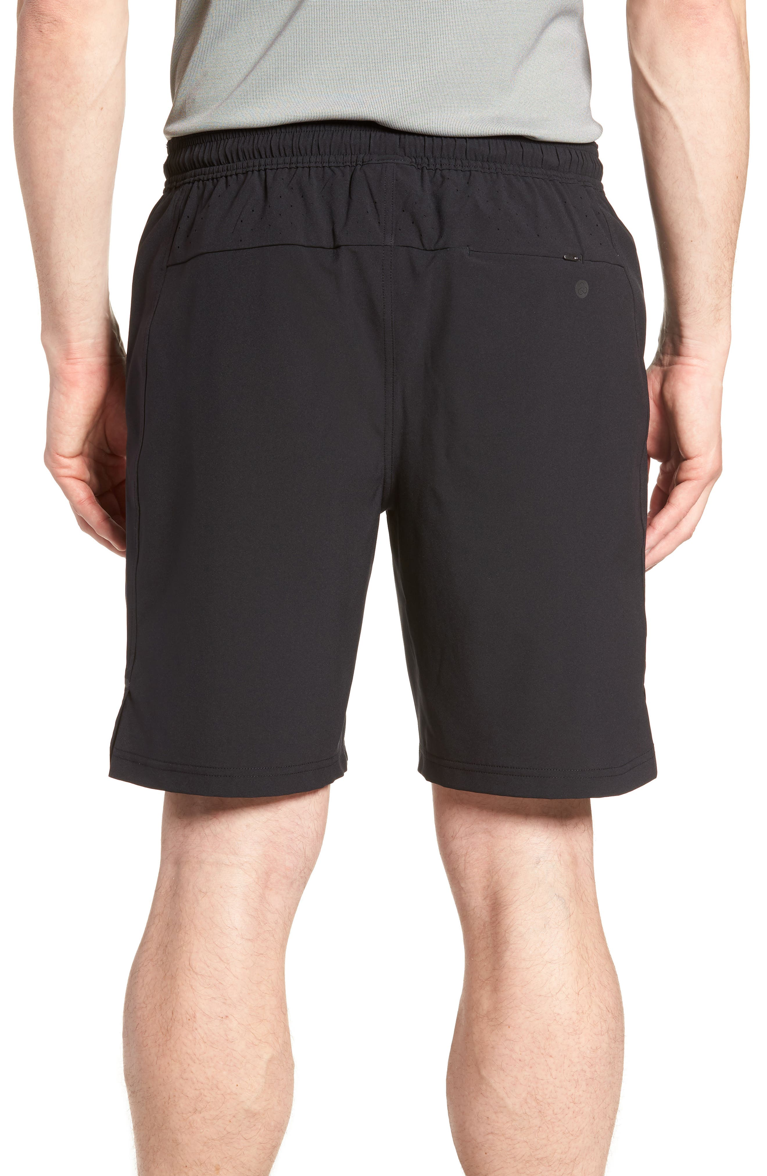 ZELLA, Graphite Perforated Shorts, Alternate thumbnail 2, color, BLACK