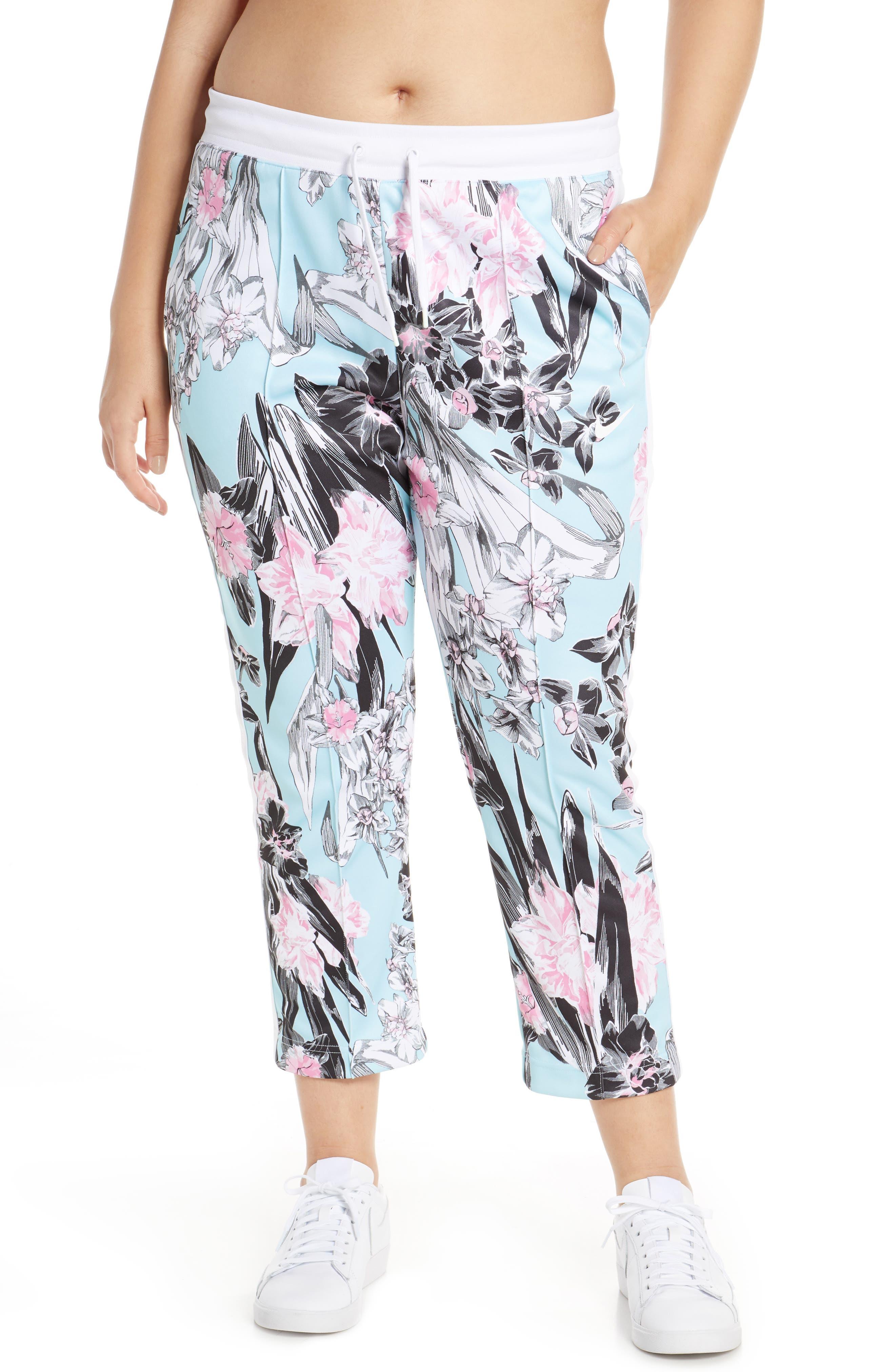 NIKE, Sportswear Floral Print Pants, Alternate thumbnail 2, color, TOPAZ MIST/ WHITE/ WHITE