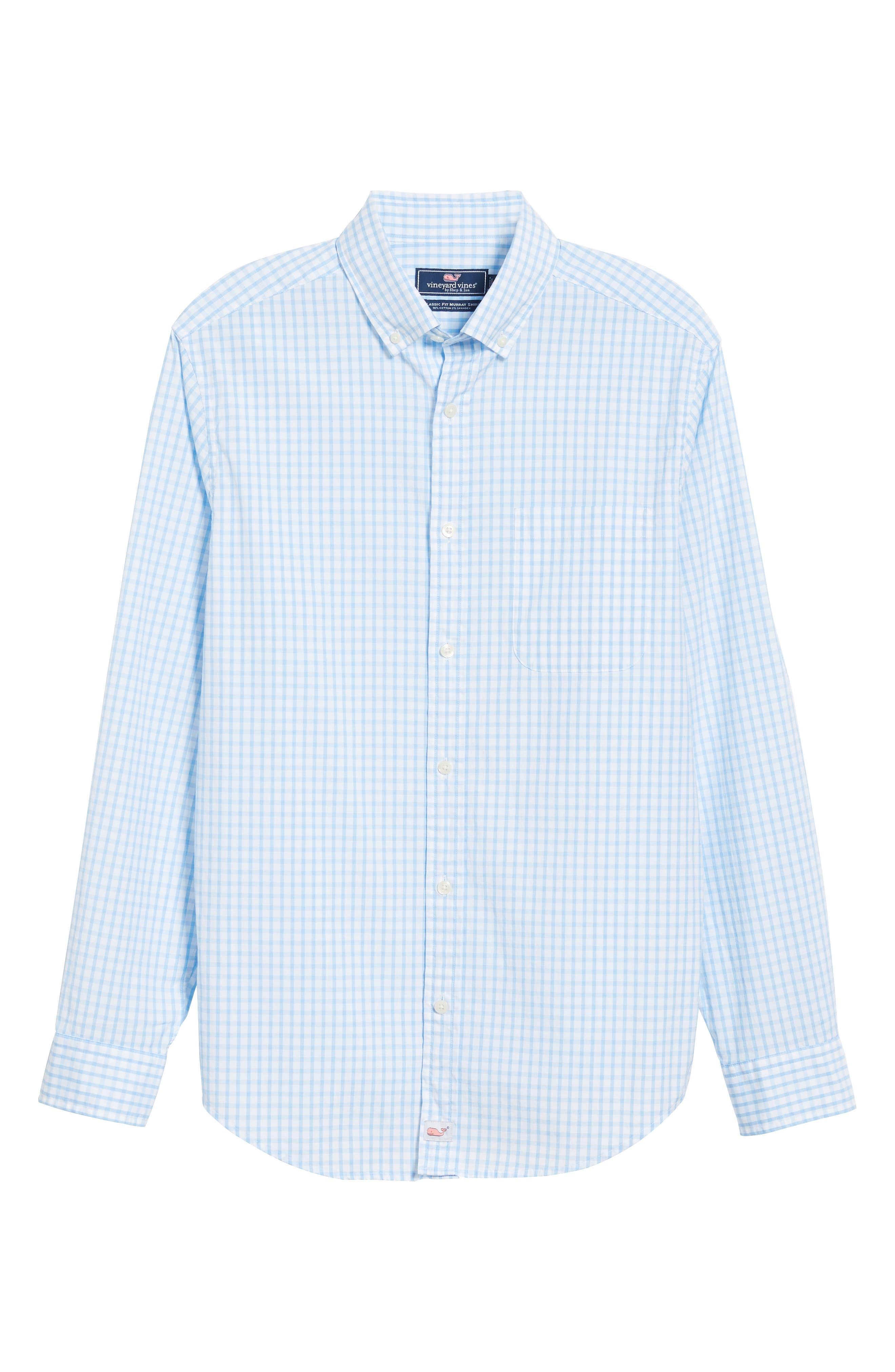 VINEYARD VINES, Micro Graph Classic Fit Check Sport Shirt, Alternate thumbnail 5, color, OCEAN BREEZE