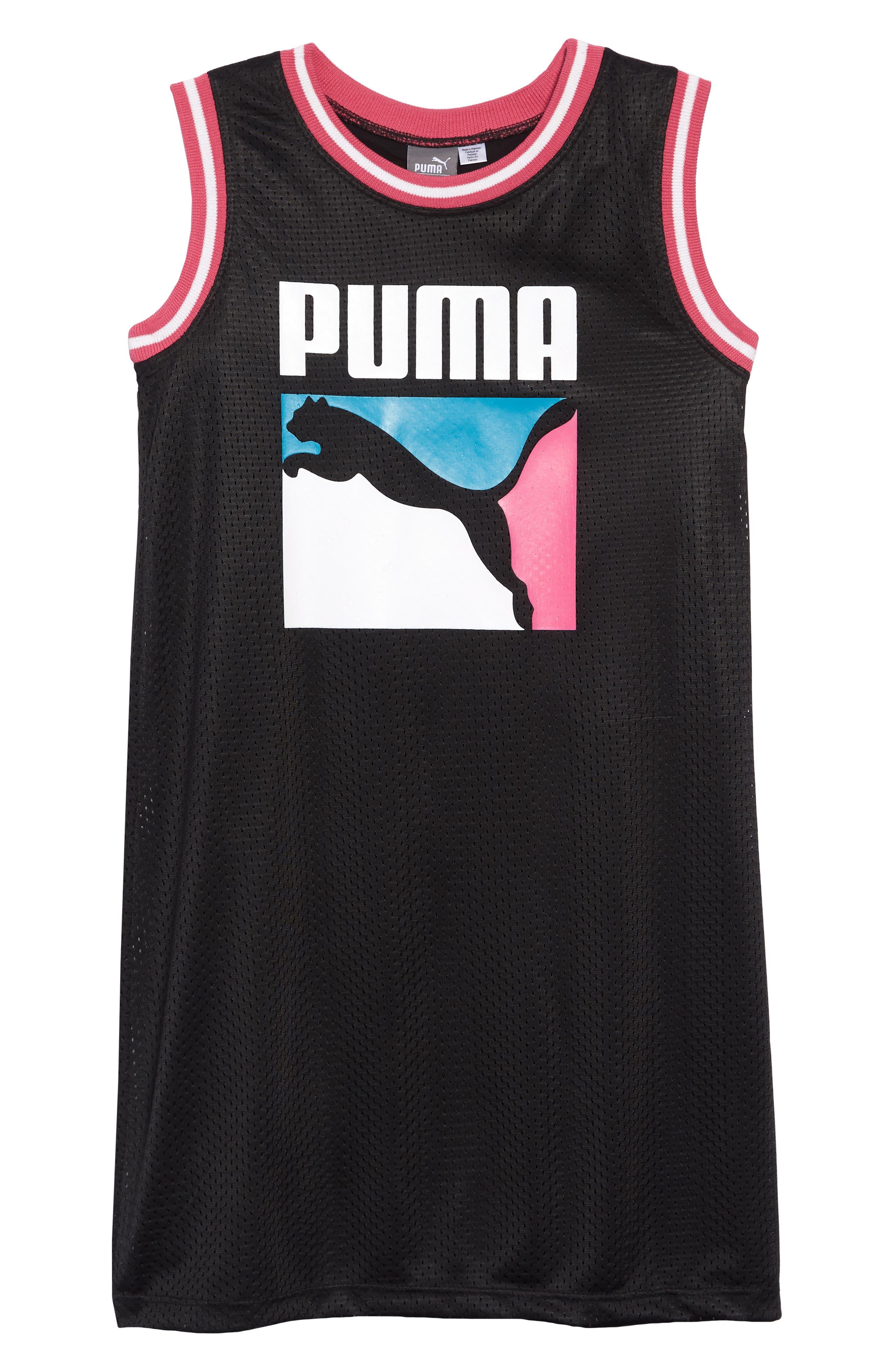 PUMA, Logo Mesh T-Shirt Dress, Main thumbnail 1, color, PUMA BLACK