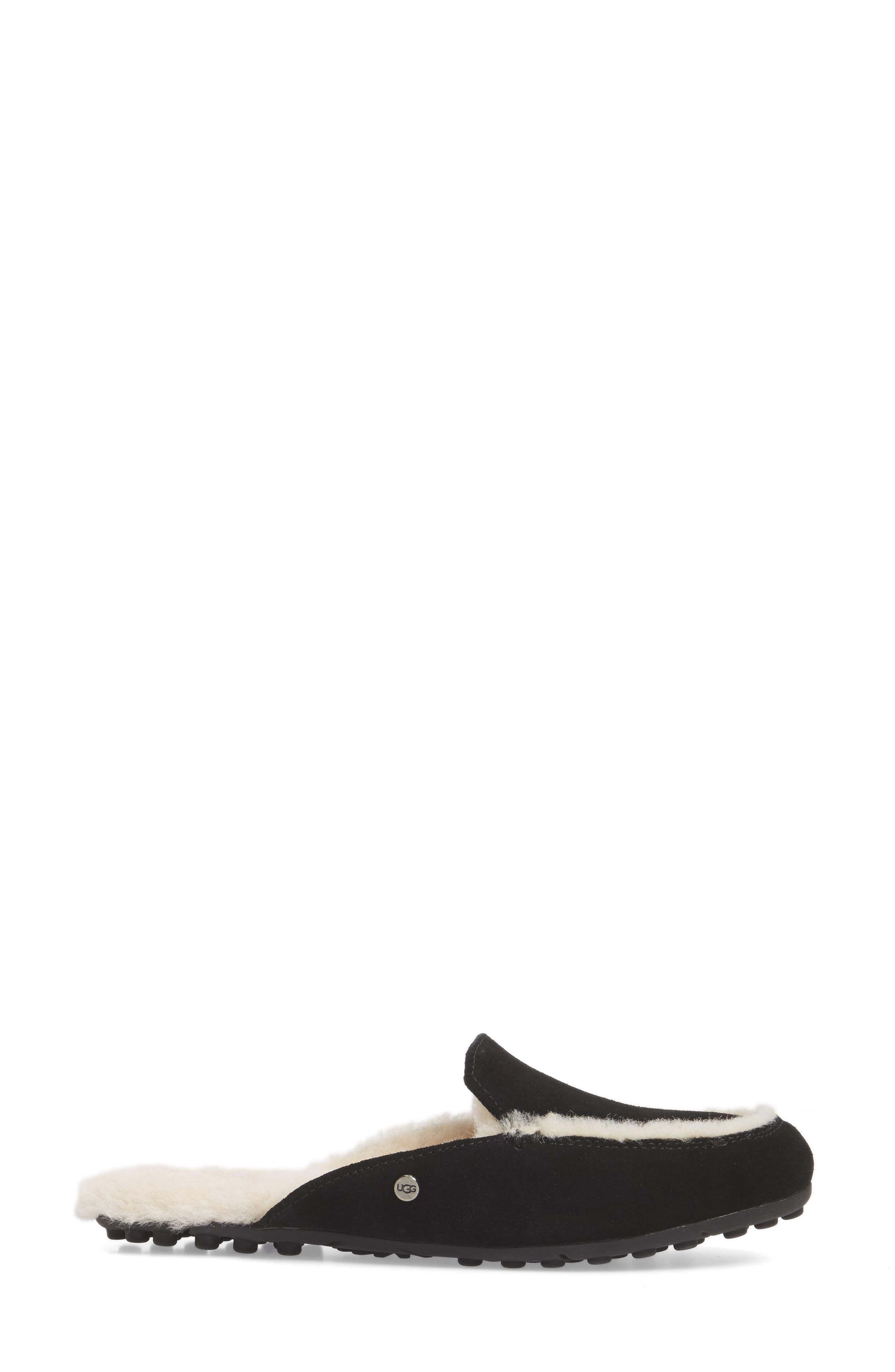 UGG<SUP>®</SUP>, Lane Genuine Shearling Slipper, Alternate thumbnail 3, color, BLACK SUEDE