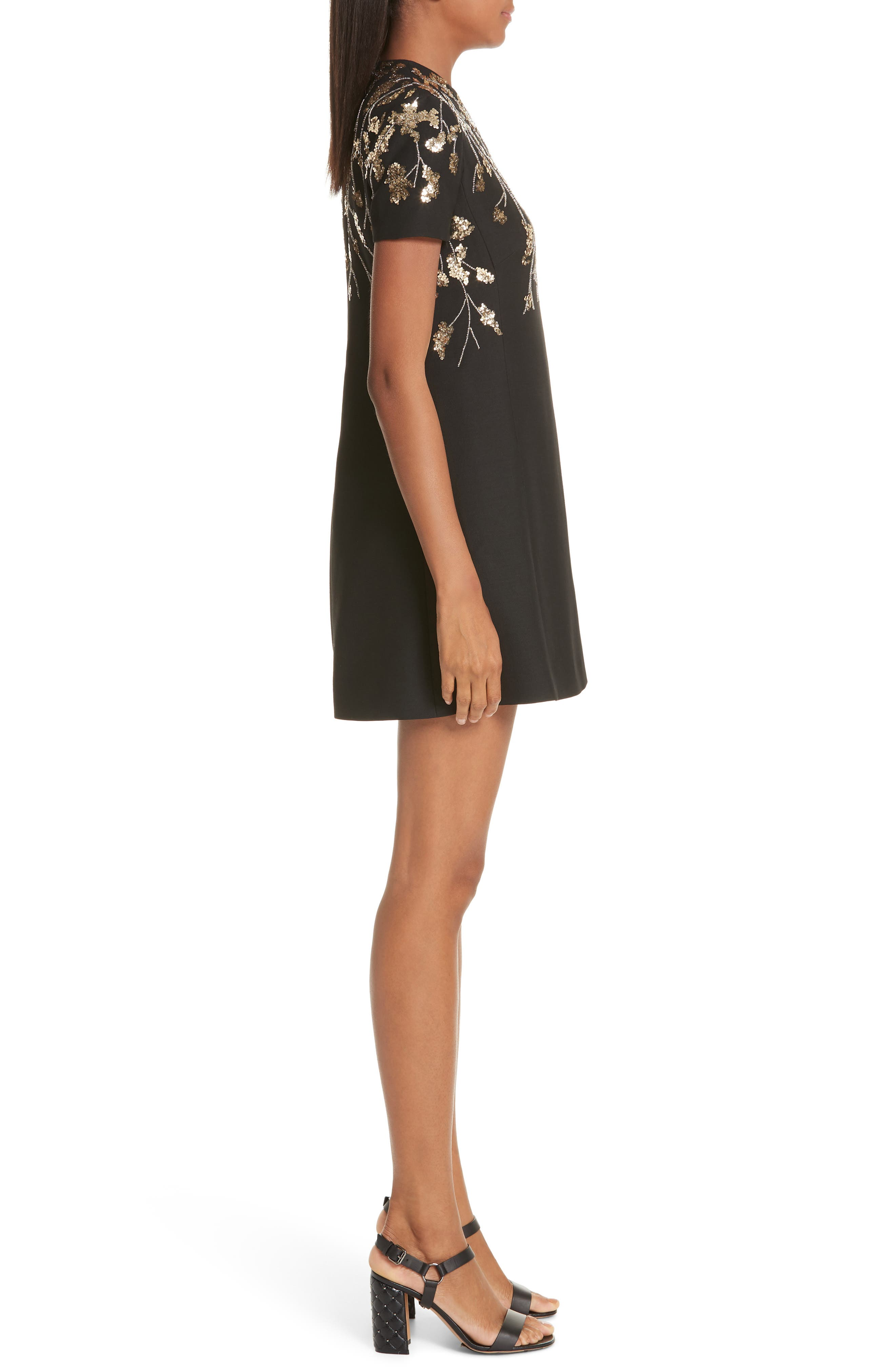 VALENTINO, Floral Embroidered Crepe Couture Dress, Alternate thumbnail 4, color, BLACK GOLD