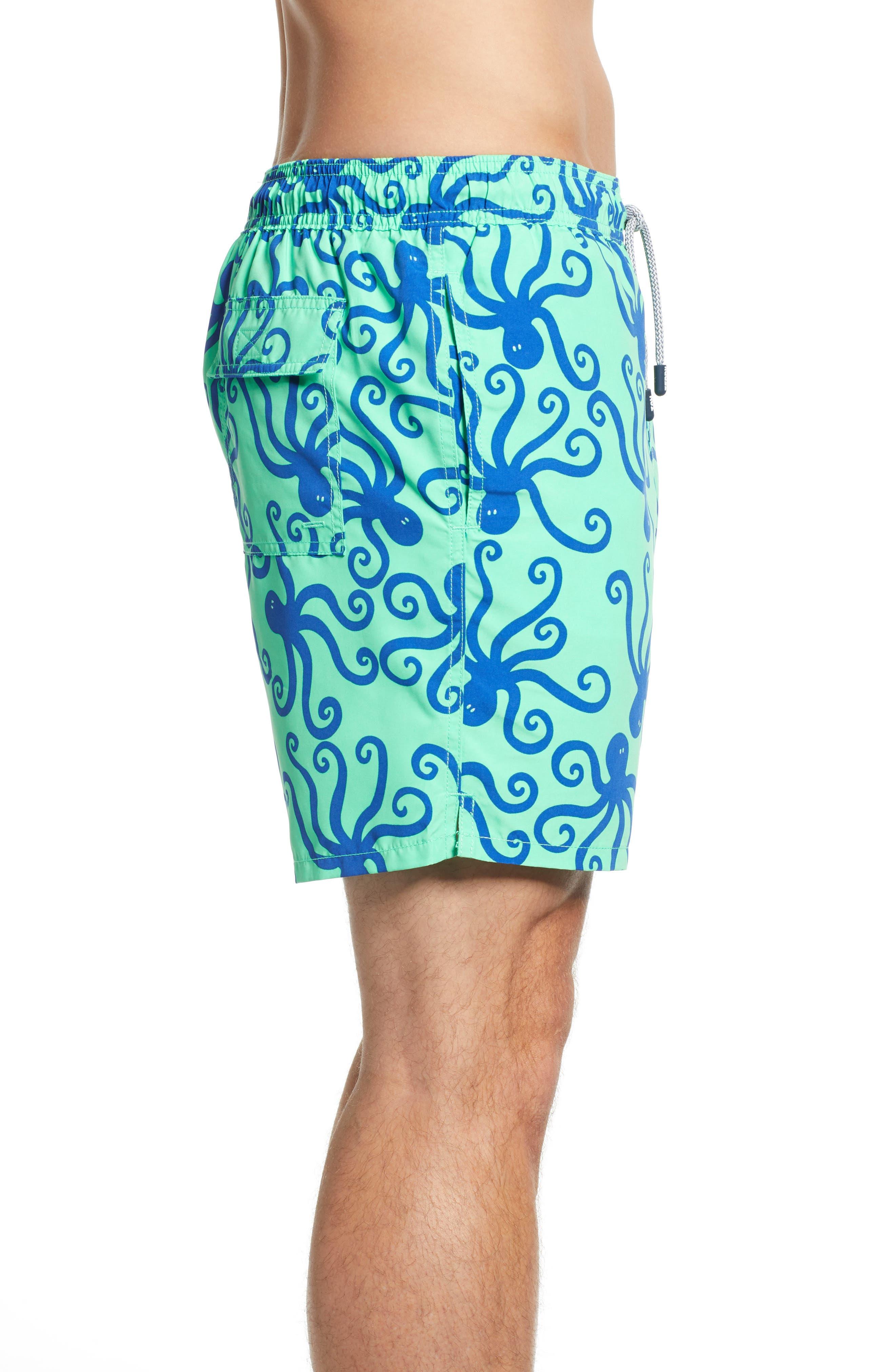 TOM & TEDDY, 'Octopus Pattern' Swim Trunks, Alternate thumbnail 3, color, GREEN/ BLUE
