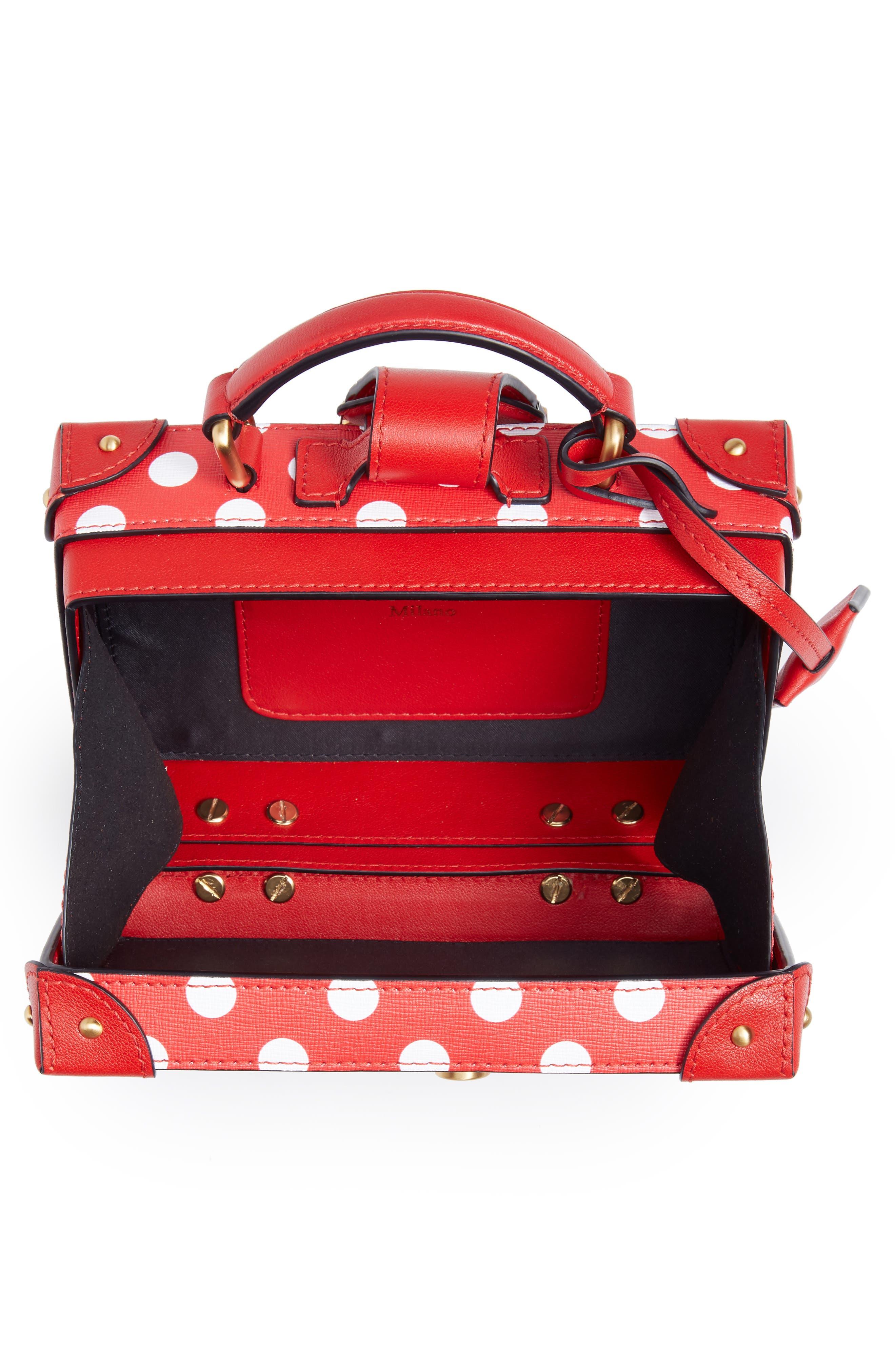 MOSCHINO, Polka Dot Box Leather Crossbody Bag, Alternate thumbnail 4, color, RED