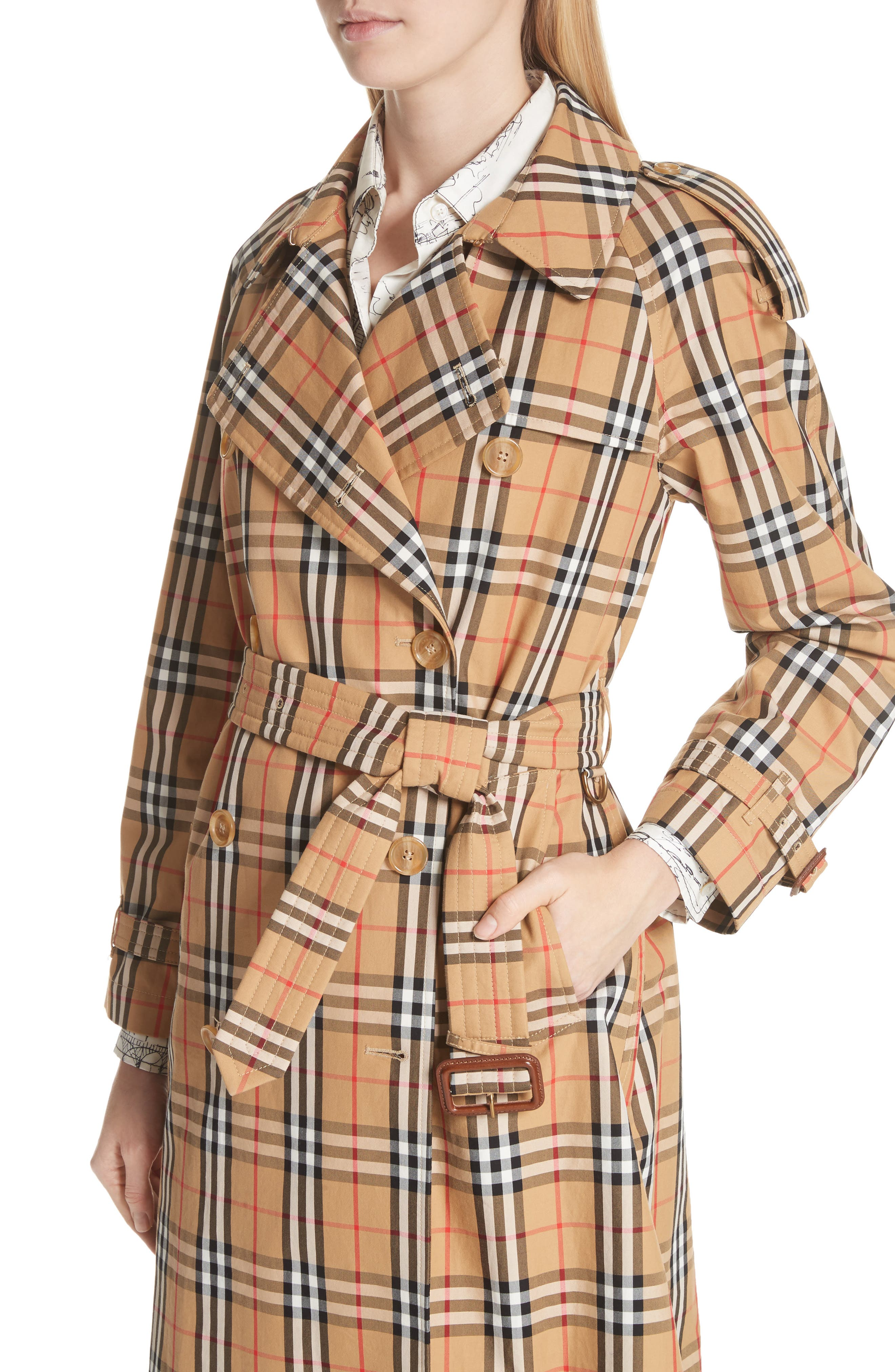 BURBERRY, Eastheath Vintage Check Trench Coat, Alternate thumbnail 5, color, ANTIQUE YELLOW